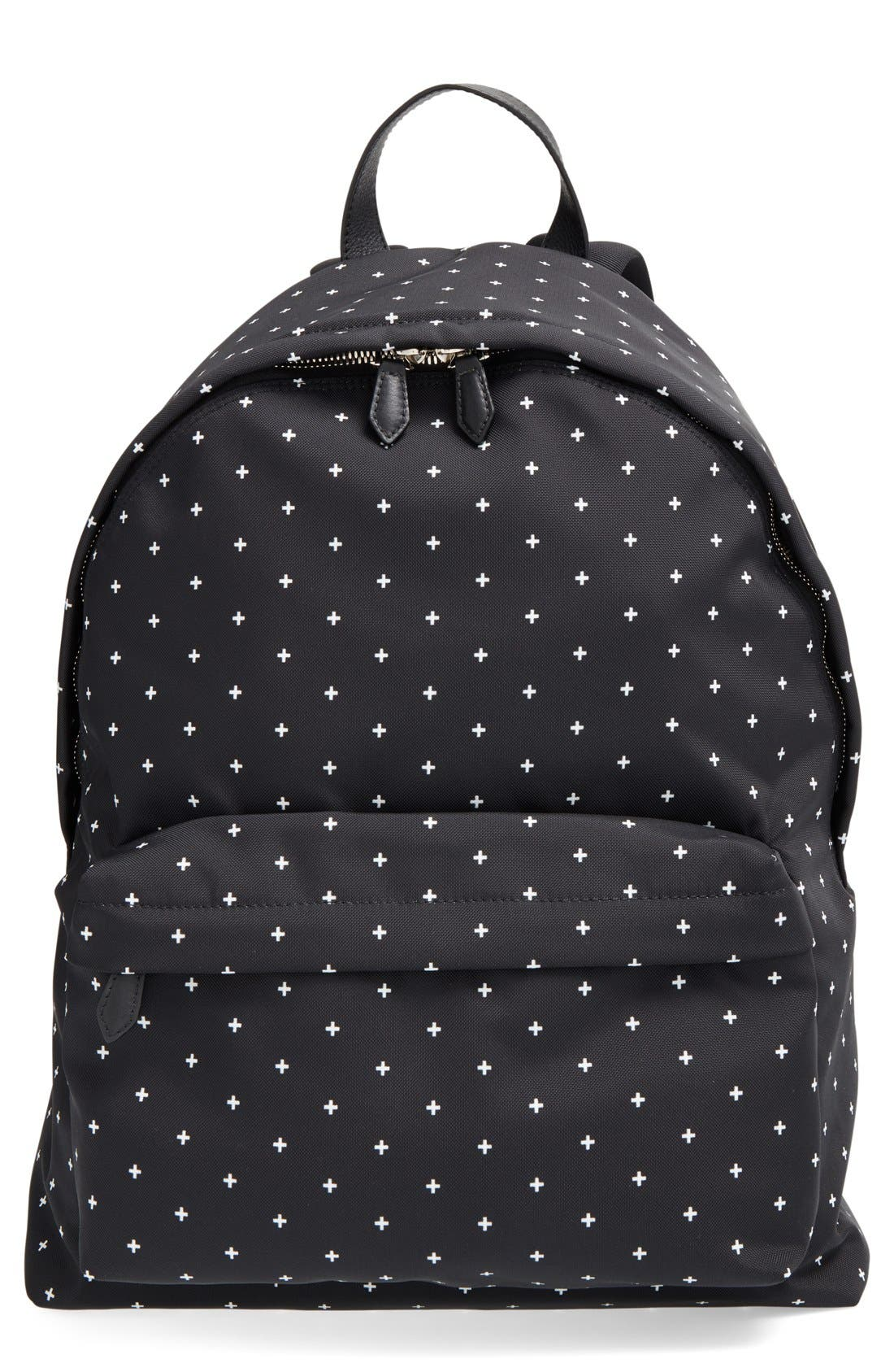 Canvas Backpack,                         Main,                         color, BLACK