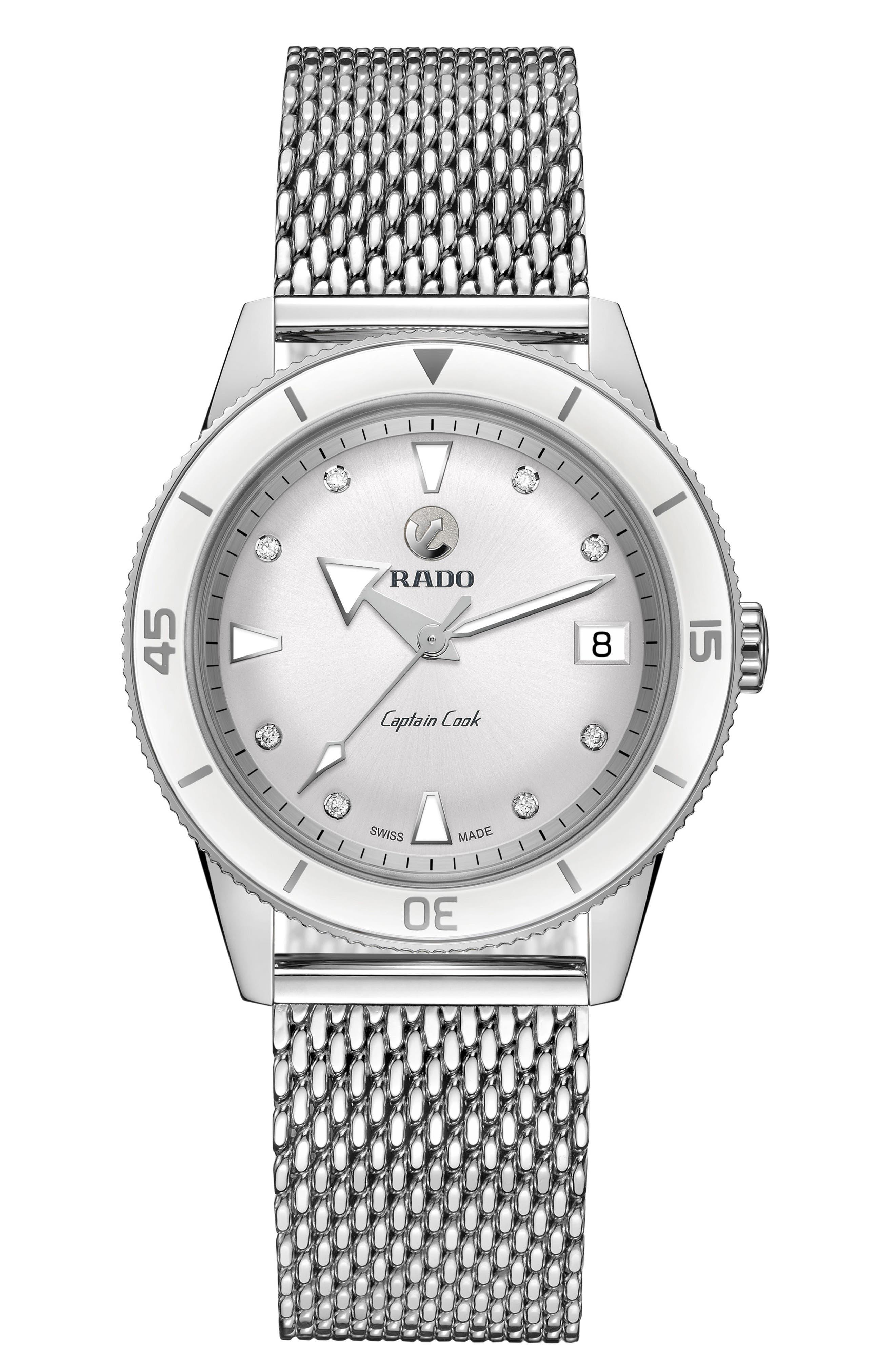 HyperChrome Captain Cook Diamond Mesh Bracelet Watch, 37.3mm,                             Main thumbnail 1, color,                             SILVER