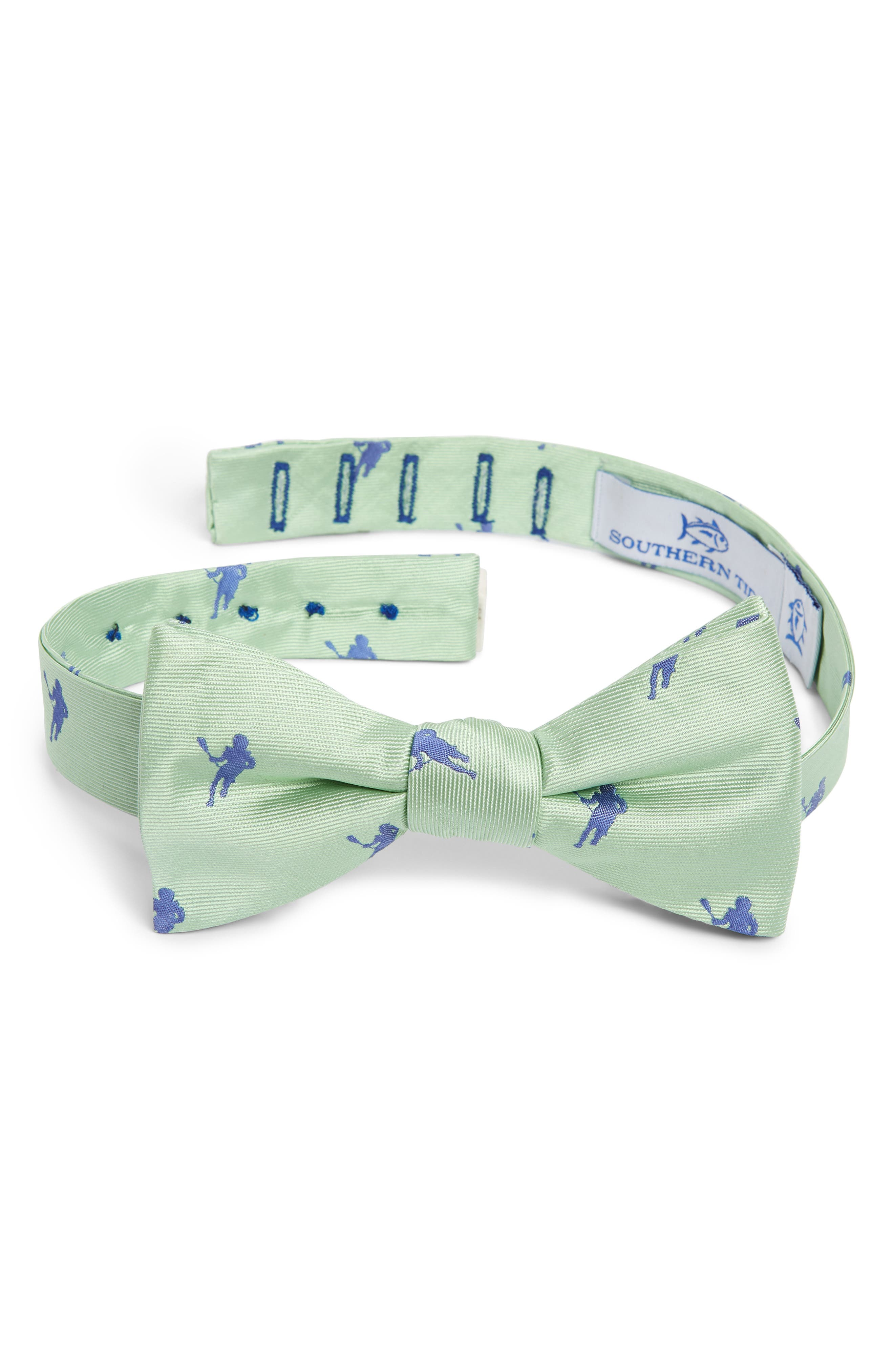 Littleton Lacrosse Silk Bow Tie,                             Main thumbnail 1, color,                             GREEN