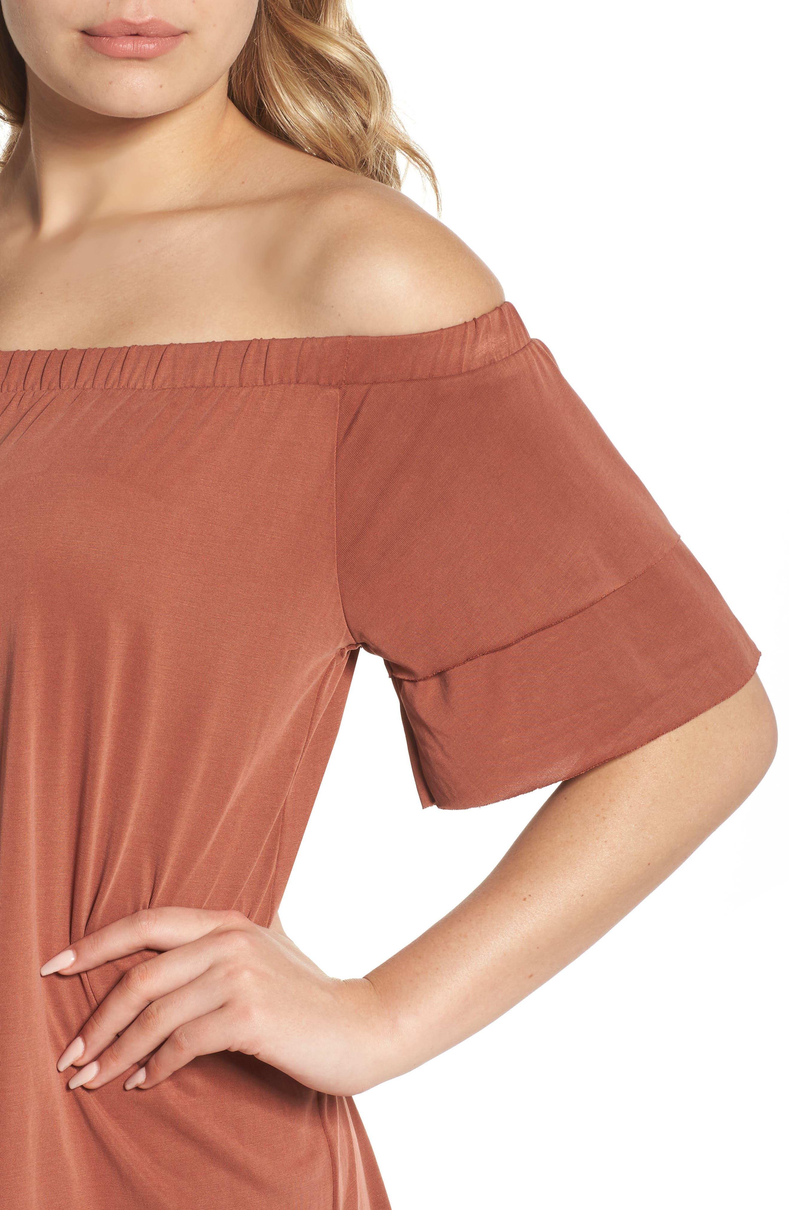 Off the Shoulder Dress,                             Alternate thumbnail 8, color,