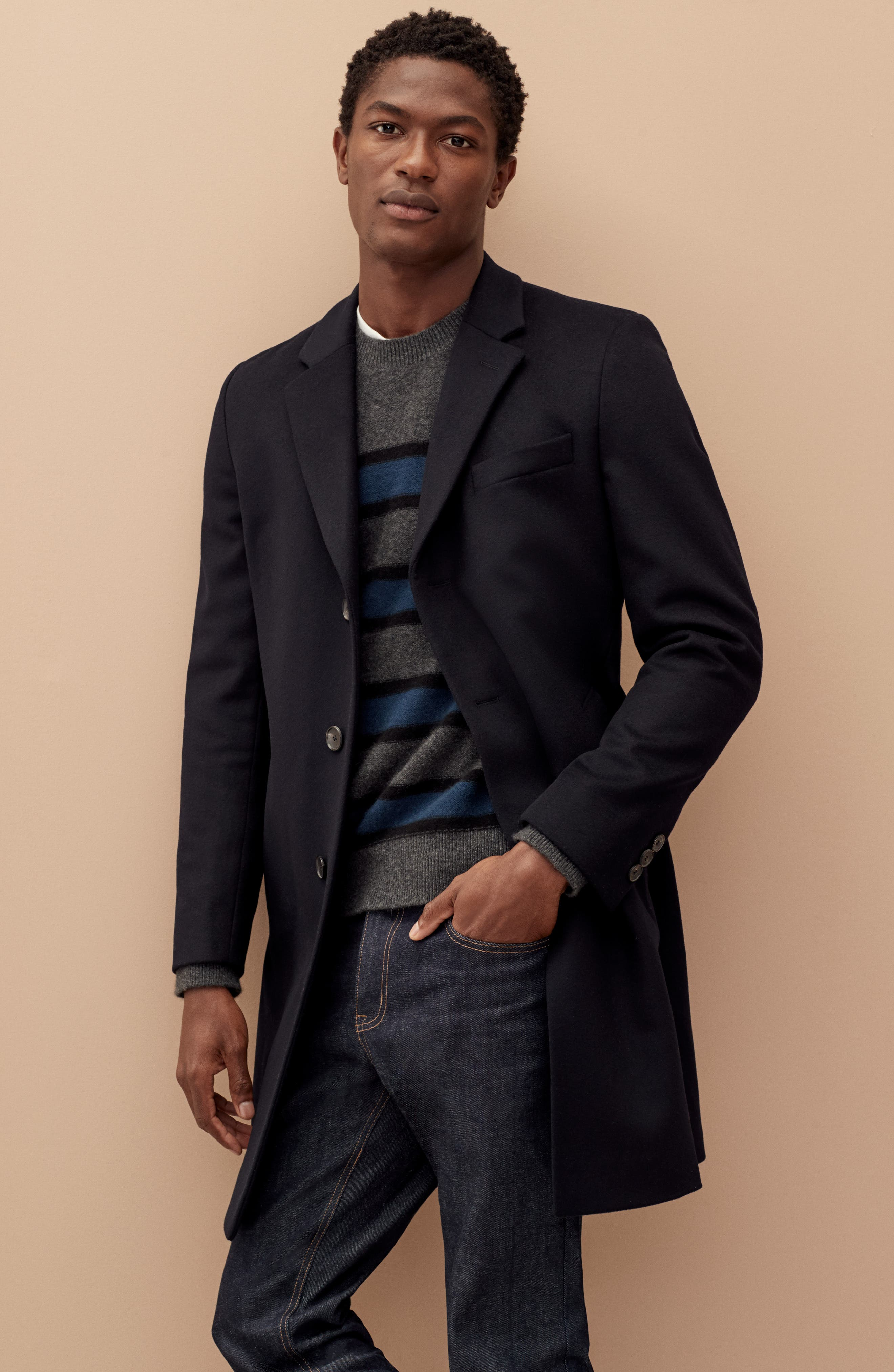 BOSS,                             Nye Regular Fit Solid Wool & Cashmere Topcoat,                             Alternate thumbnail 8, color,                             DARK BLUE