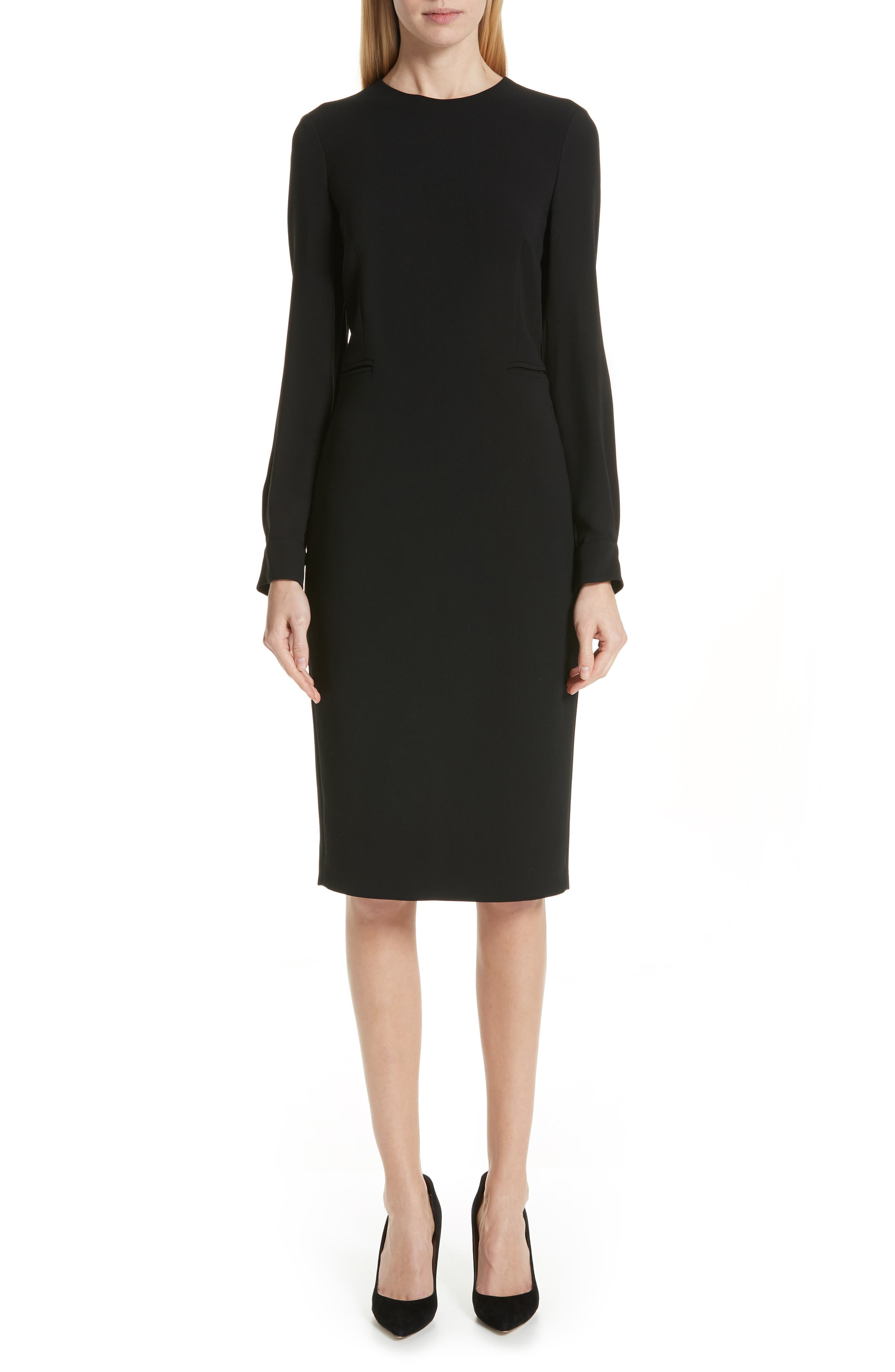 Ottelia Stretch Wool Sheath Dress,                             Main thumbnail 1, color,                             BLACK