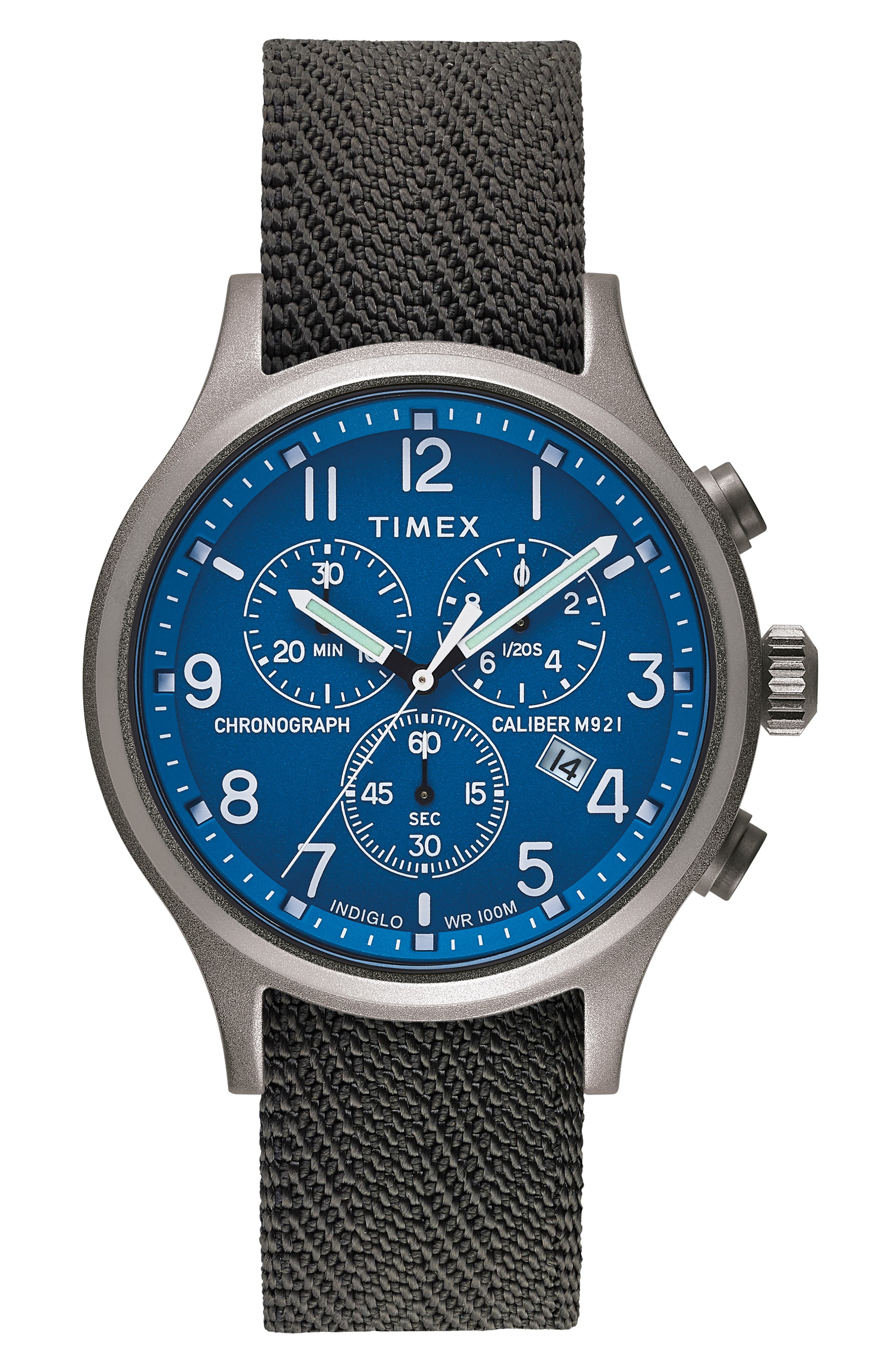 Allied Chronograph Woven Strap Watch, 42mm,                         Main,                         color, SILVER/ BLUE/ GREY