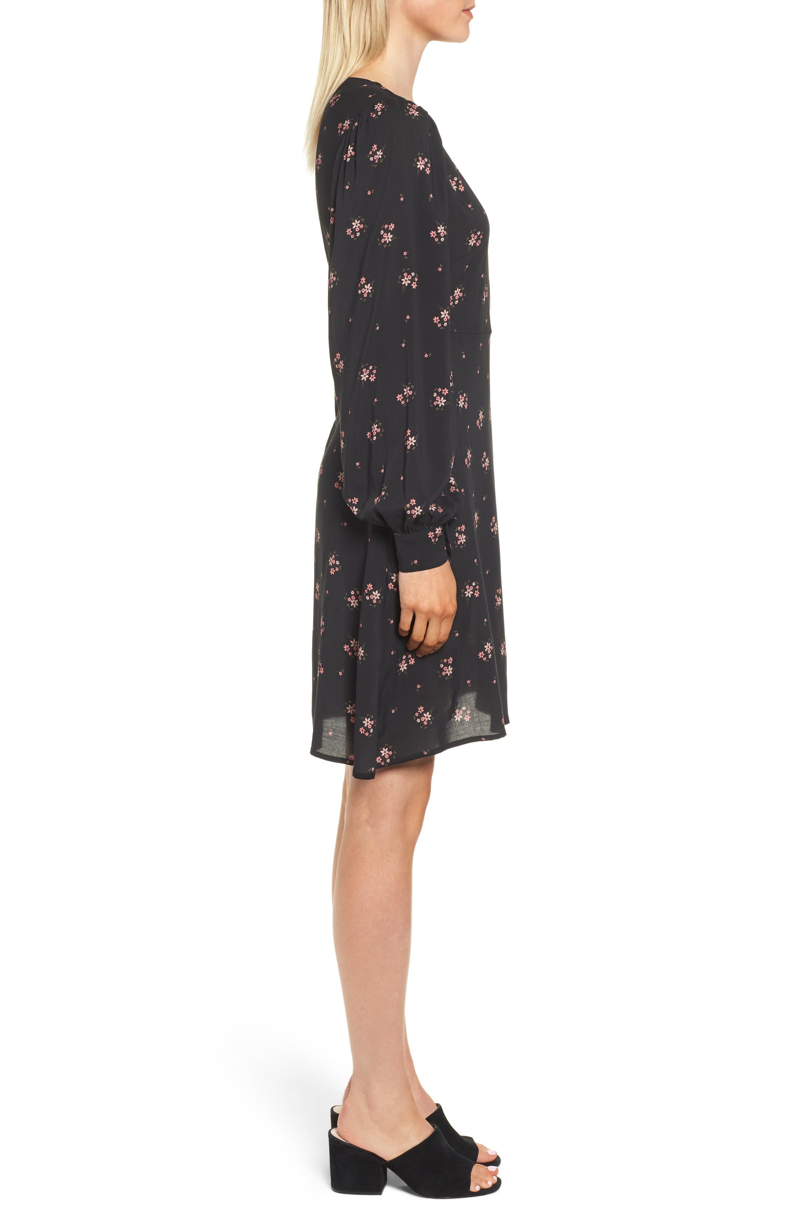 Floral Blouson Sleeve Dress,                             Alternate thumbnail 3, color,                             CAMELLIA