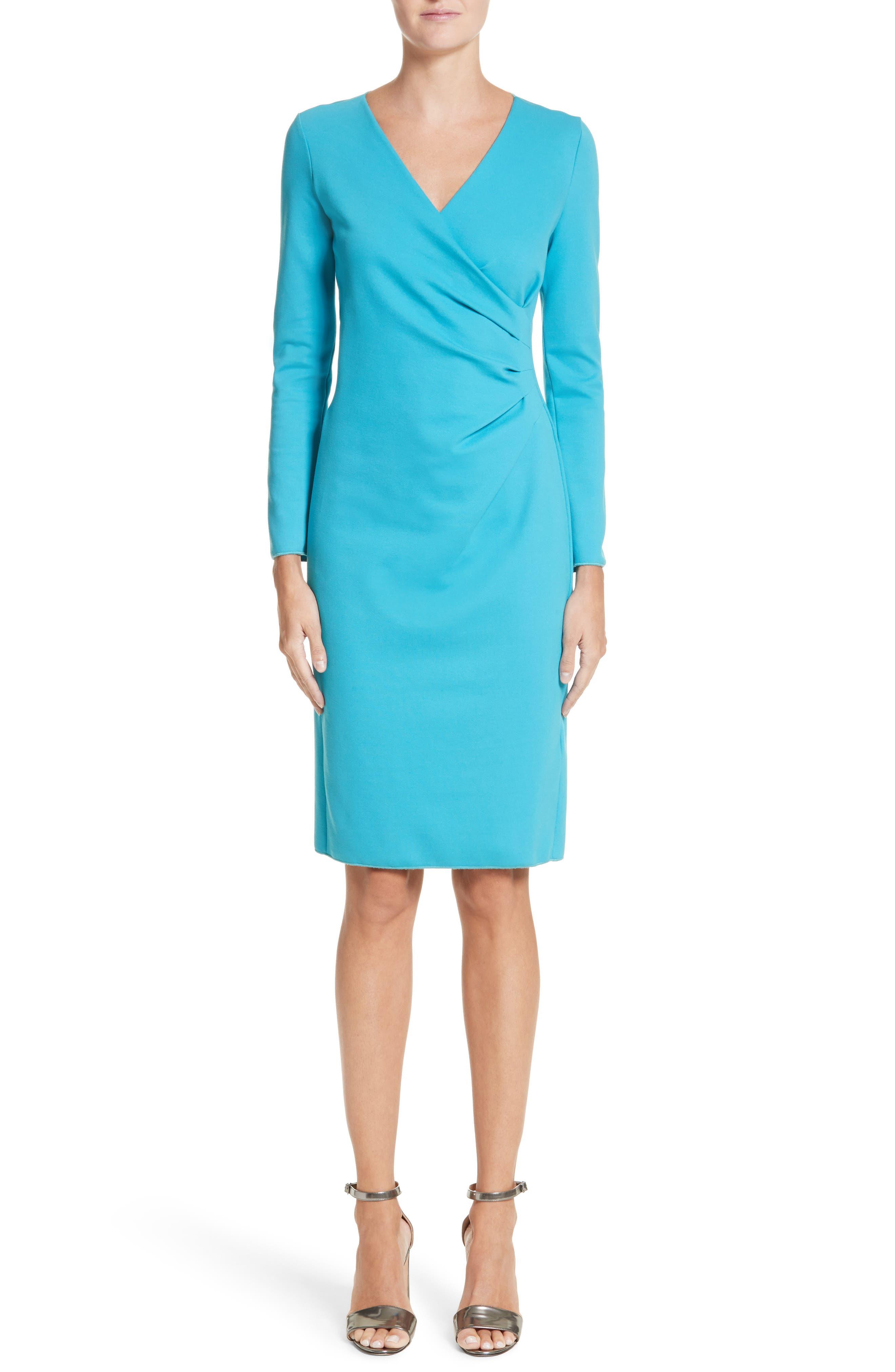Faux Wrap Side Pleat Dress,                         Main,                         color, 444