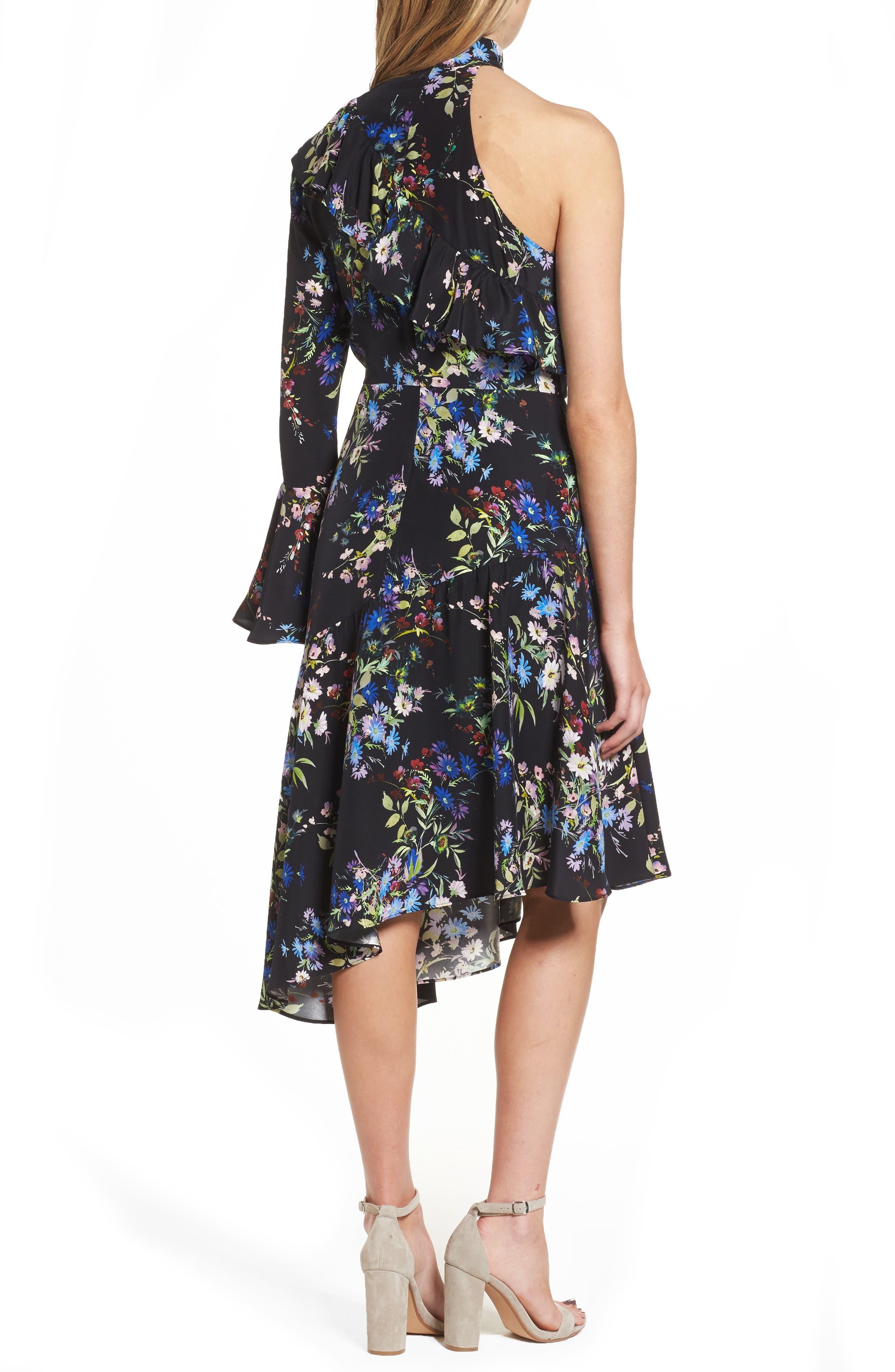 Rine One-Shoulder Silk Dress,                             Alternate thumbnail 2, color,                             016