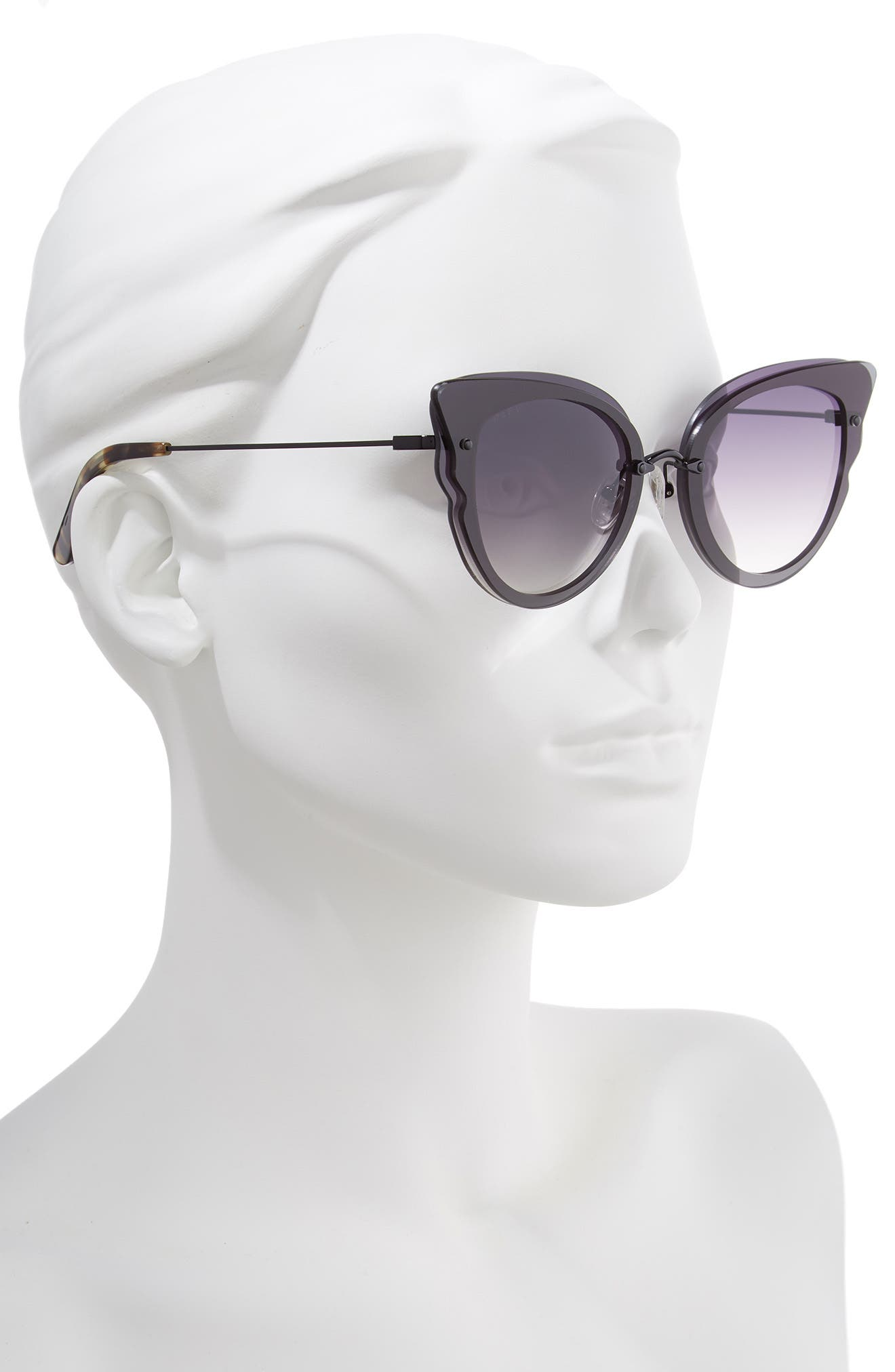 Delilah 49mm Cat Eye Sunglasses,                             Alternate thumbnail 2, color,                             BLACK/ GREY