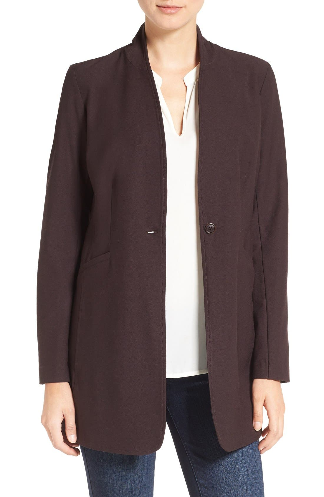 Washable Stretch Crepe Stand Collar Jacket,                             Main thumbnail 2, color,