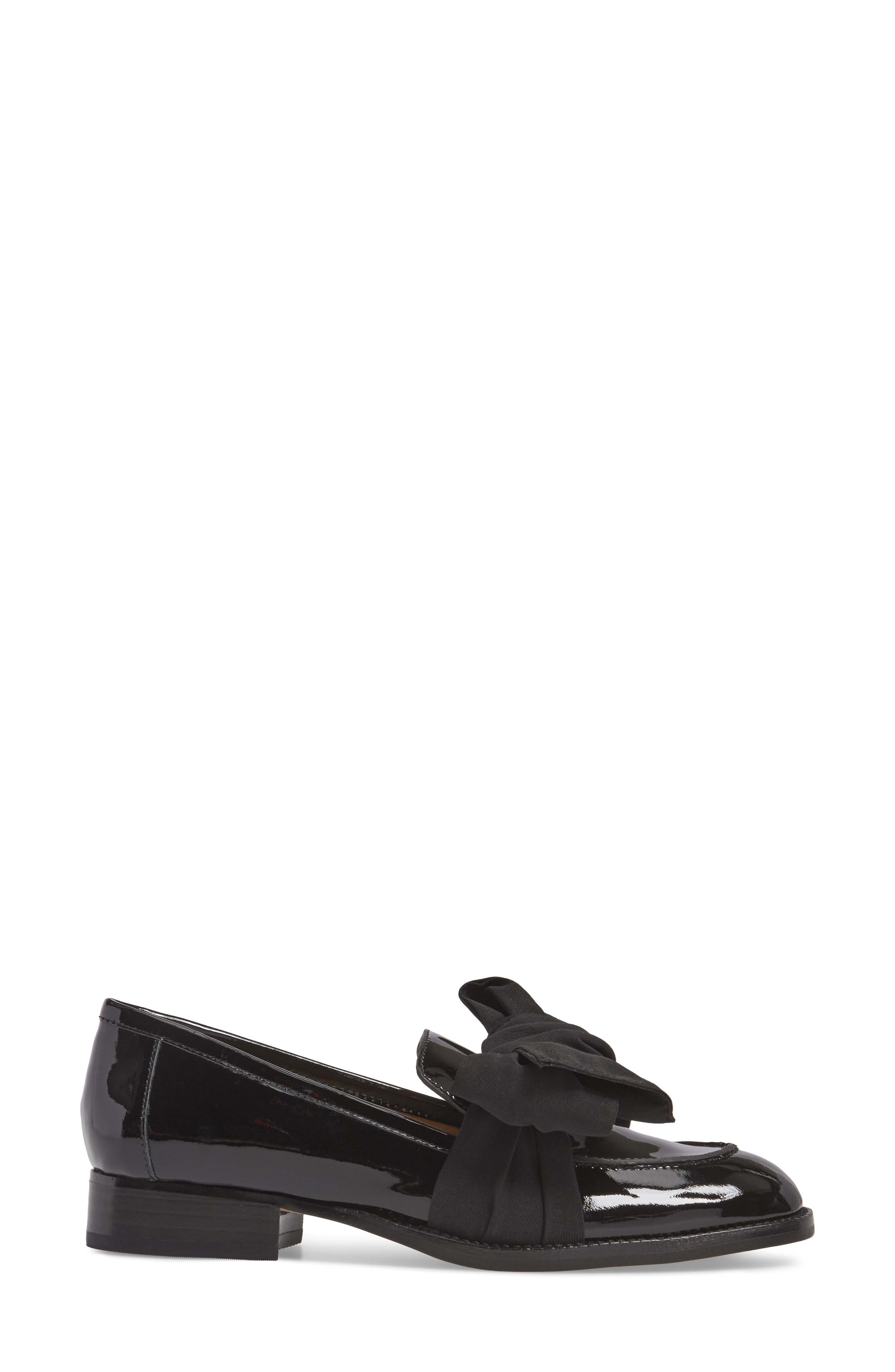 BOTKIER,                             Violet Bow Loafer,                             Alternate thumbnail 3, color,                             BLACK PATENT LEATHER