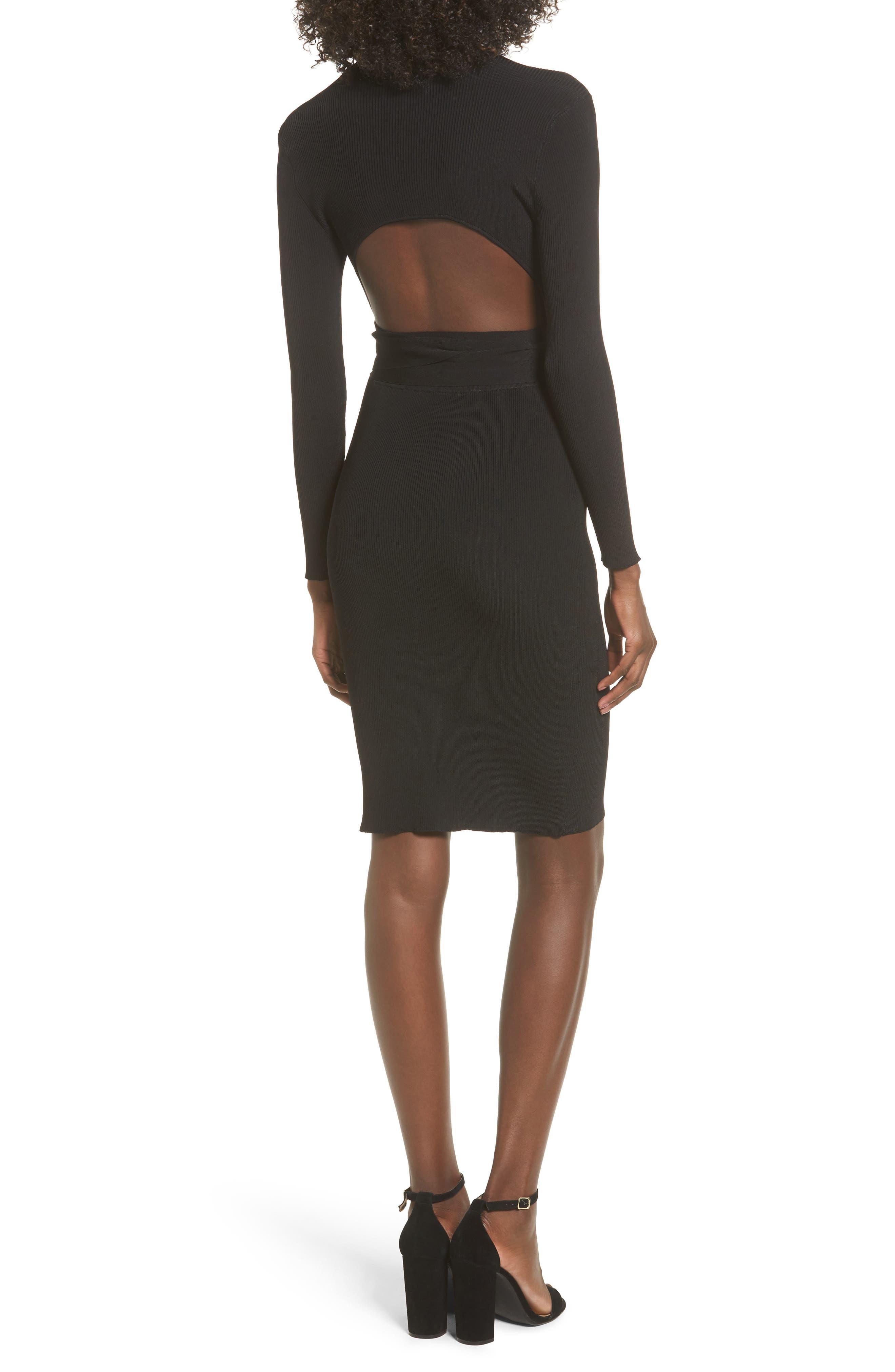 Desiree Cutout Ribbed Body-Con Dress,                             Alternate thumbnail 2, color,                             001
