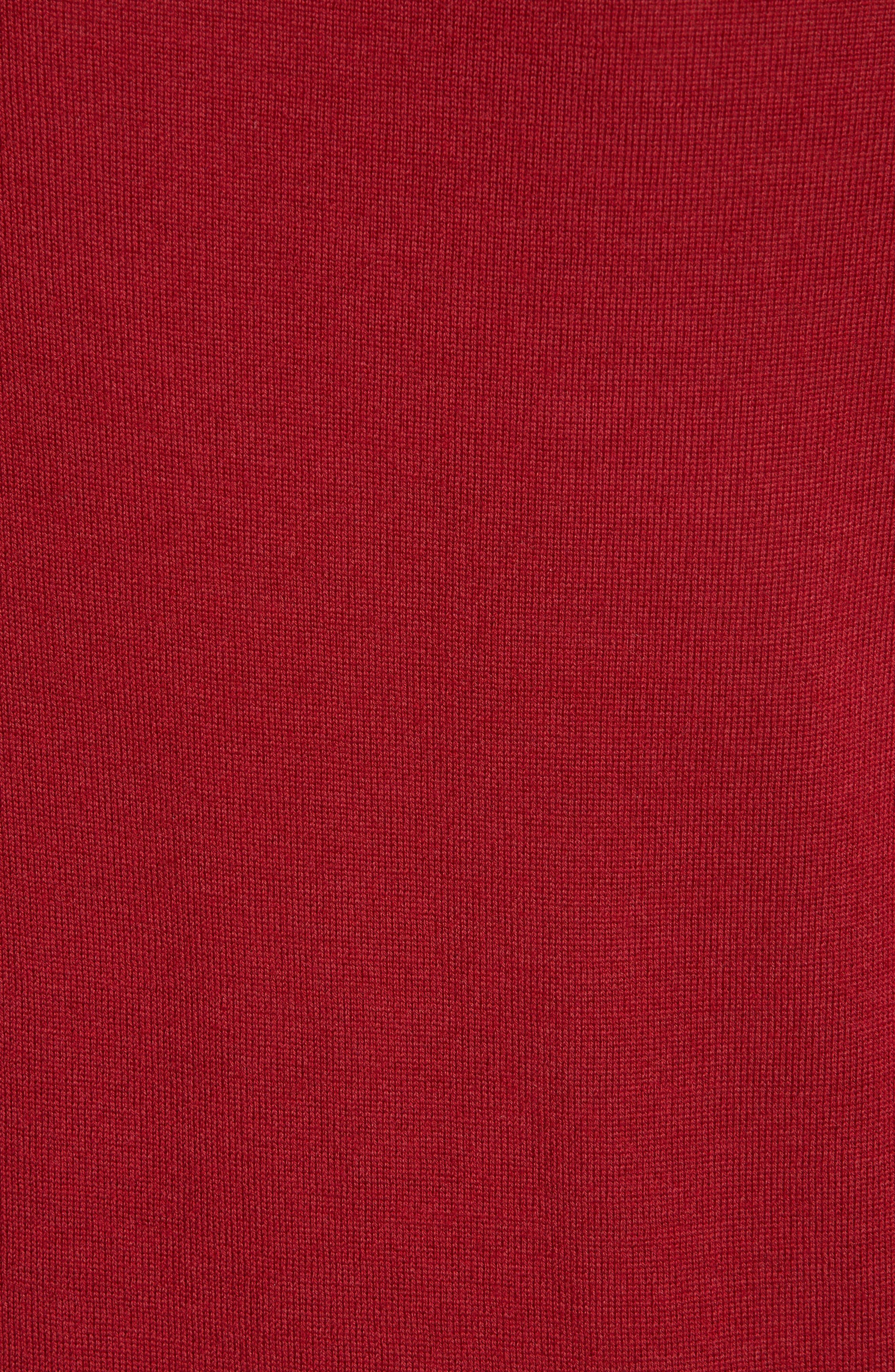 Frankie Cuff Detail Wool Sweater,                             Alternate thumbnail 5, color,                             DARK RED