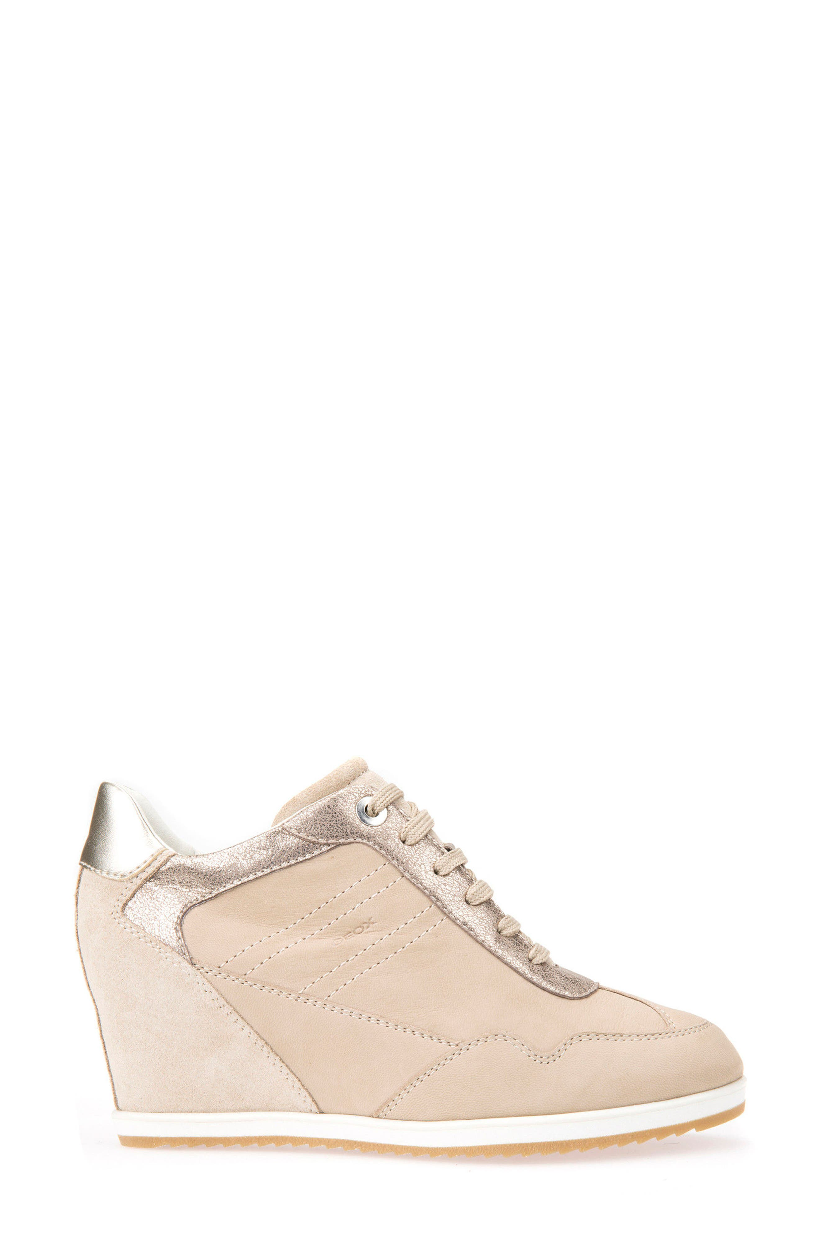 Illusion 34 Wedge Sneaker,                             Alternate thumbnail 3, color,                             SAND LEATHER