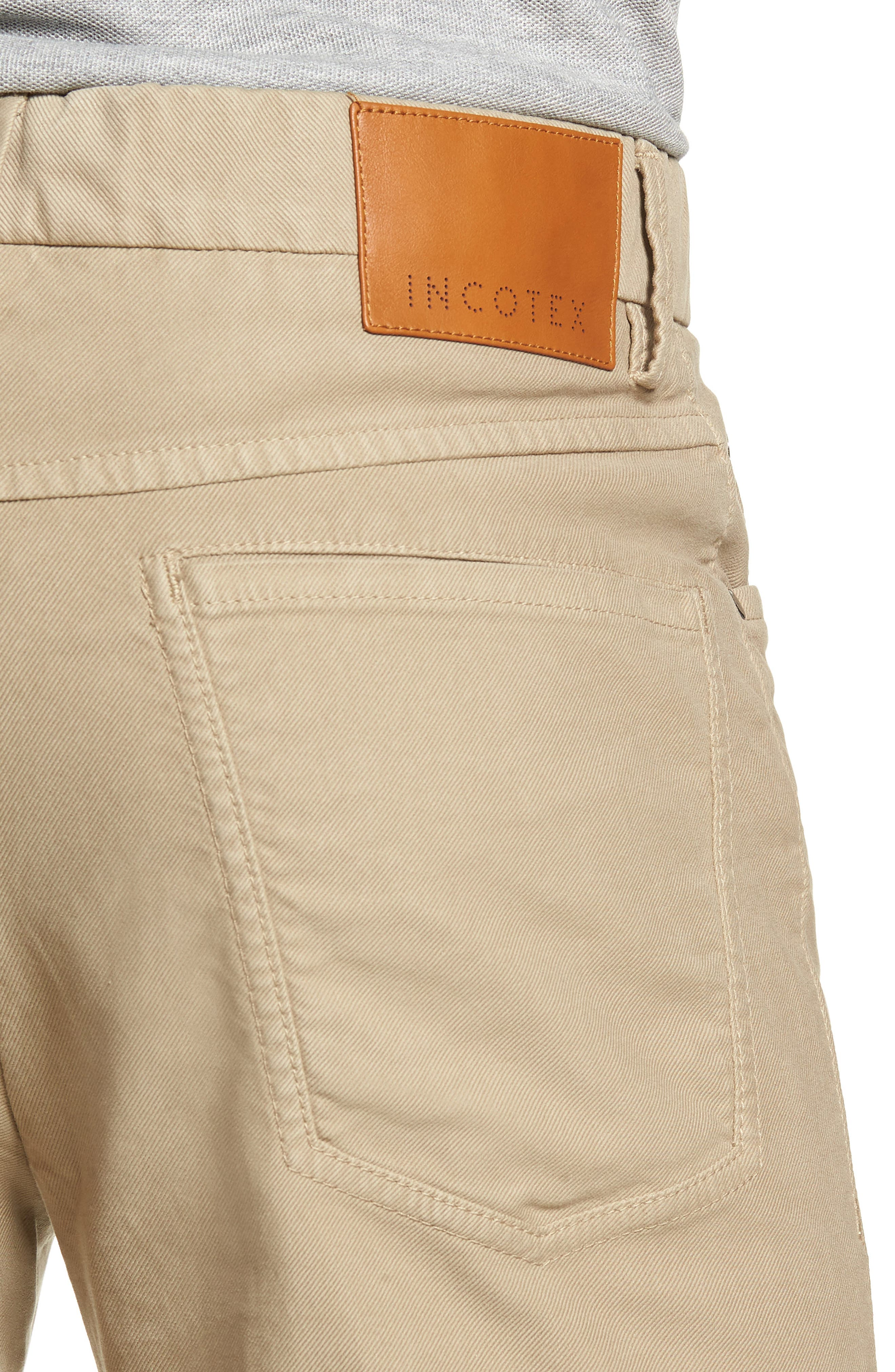 Five-Pocket Solid Stretch Cotton Trousers,                             Alternate thumbnail 4, color,                             STONE