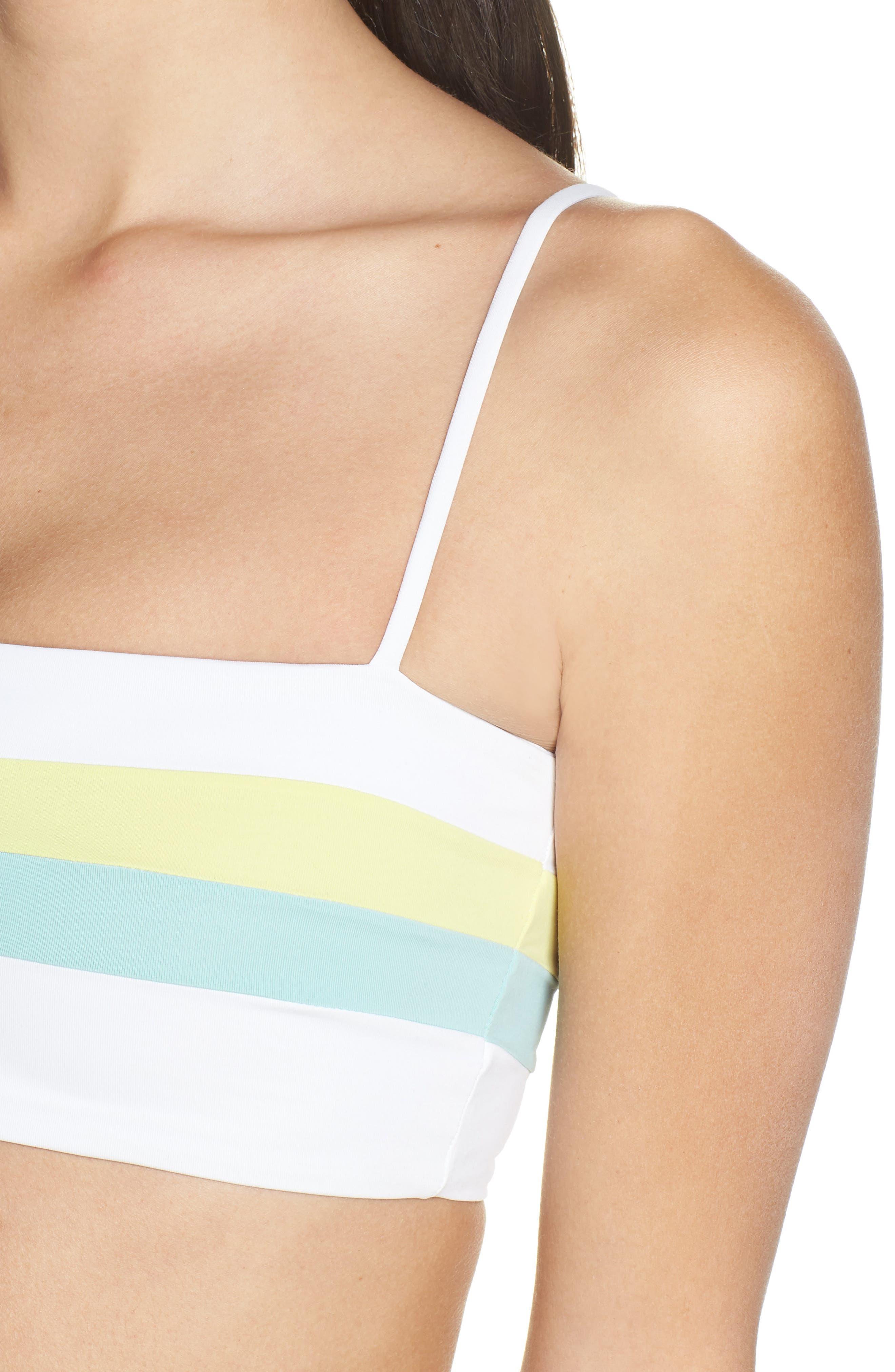 L SPACE,                             Rebel Bikini Top,                             Alternate thumbnail 4, color,                             WHITE/ LIGHT TURQ/ LEMONADE
