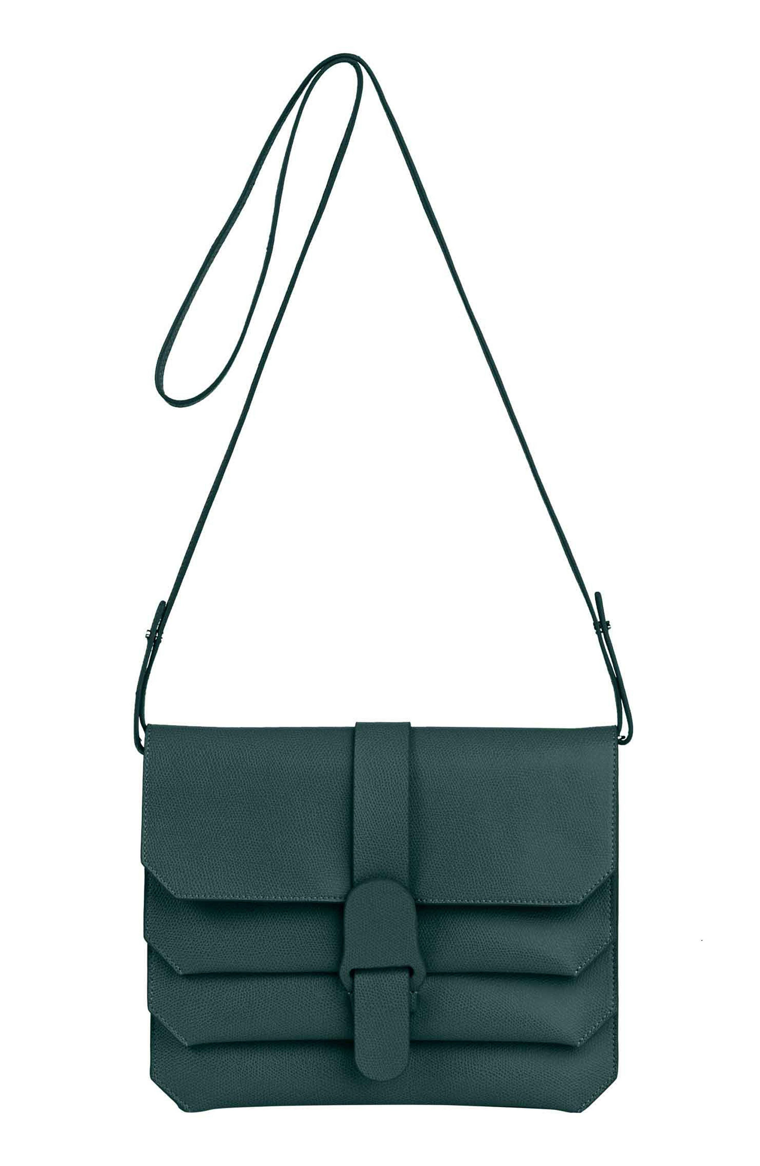 Pebbled Leather Crossbody Bag,                             Main thumbnail 1, color,                             FOREST