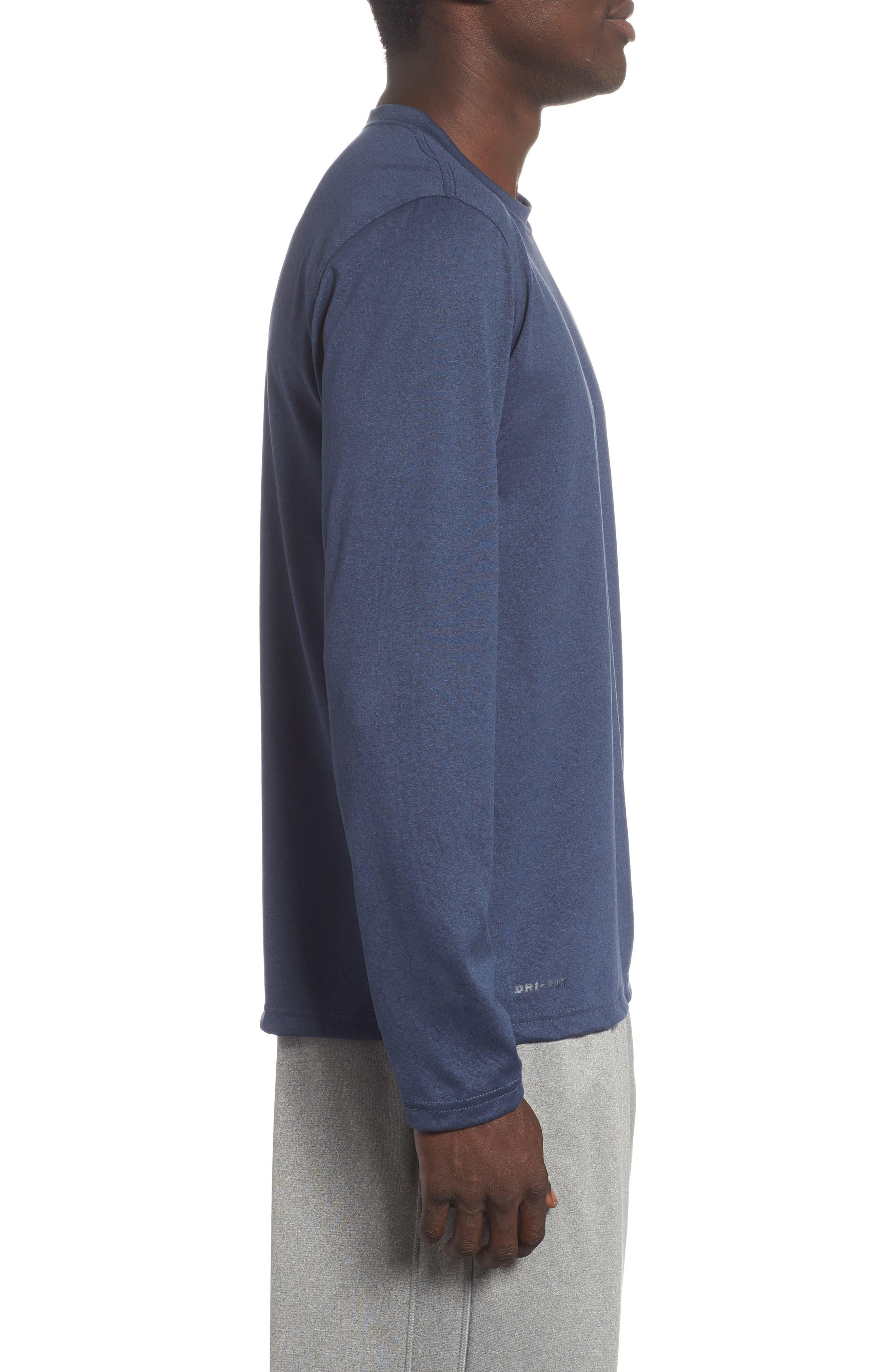 'Legend 2.0' Long Sleeve Dri-FIT Training T-Shirt,                             Alternate thumbnail 3, color,                             THUNDER BLUE/ BLACK