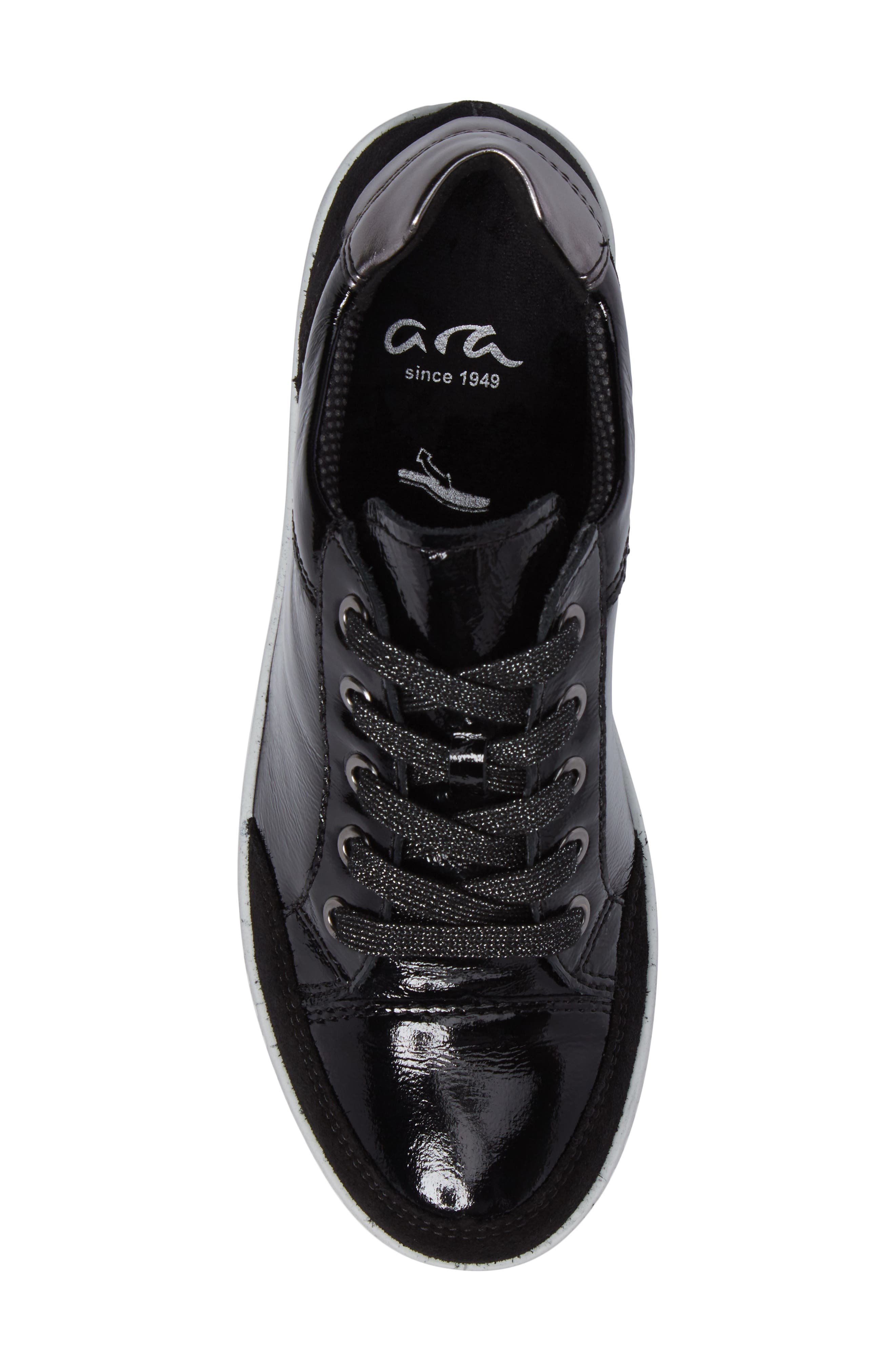Nicole Sneaker,                             Alternate thumbnail 5, color,                             BLACK LEATHER