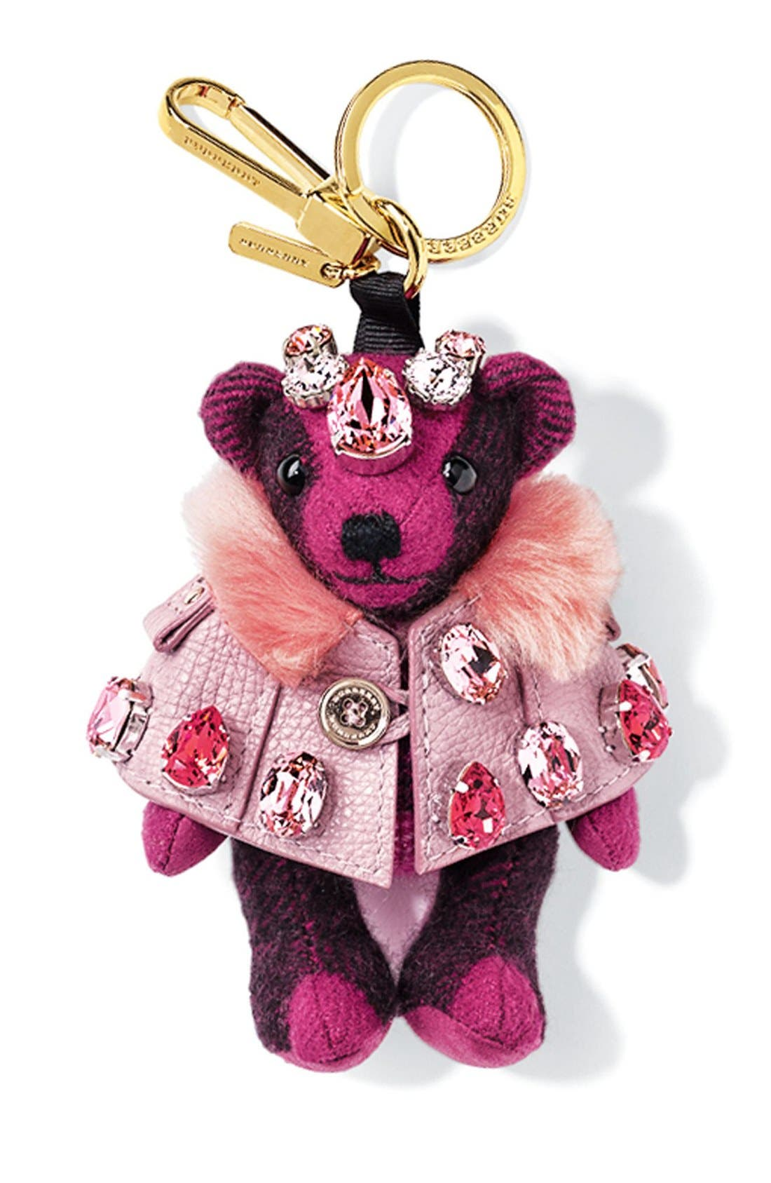 Thomas Bear Bag Charm with Genuine Shearling Trim Cape & Crystals,                             Main thumbnail 1, color,
