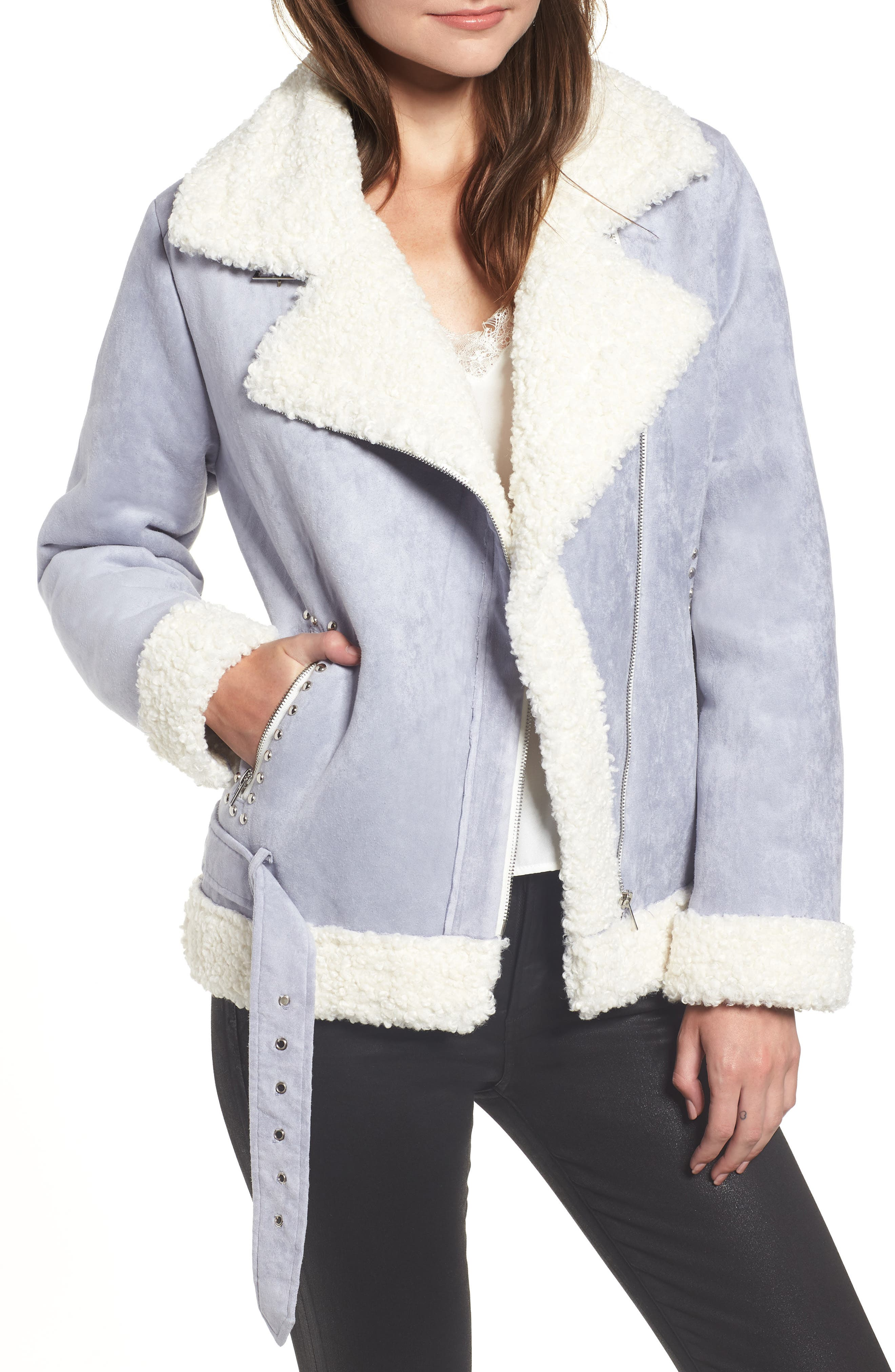 ENDLESS ROSE Faux Shearling Jacket in Blue