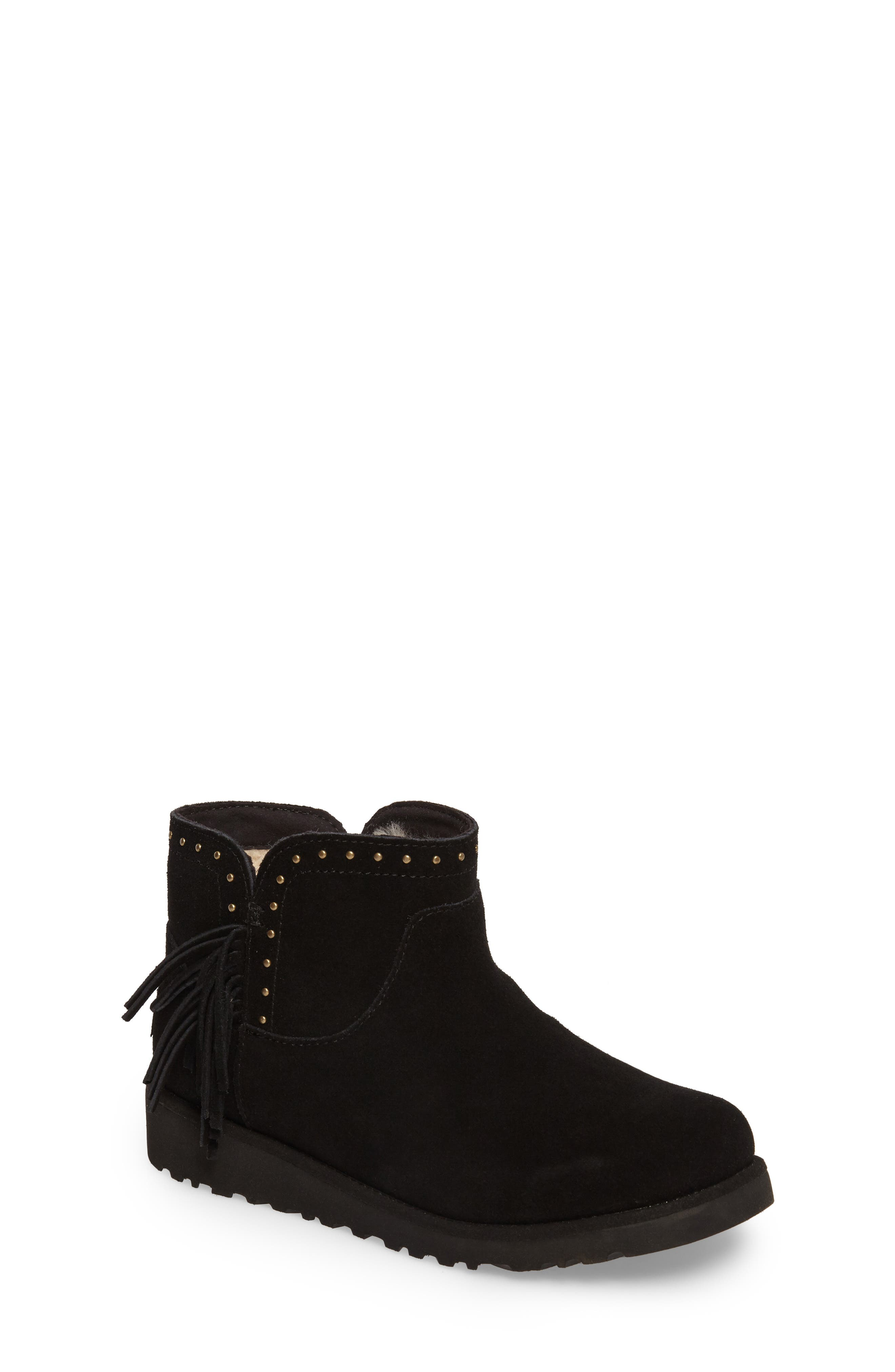 Cindy Water-Resistant Genuine Shearling Studded Bootie,                             Main thumbnail 1, color,                             001