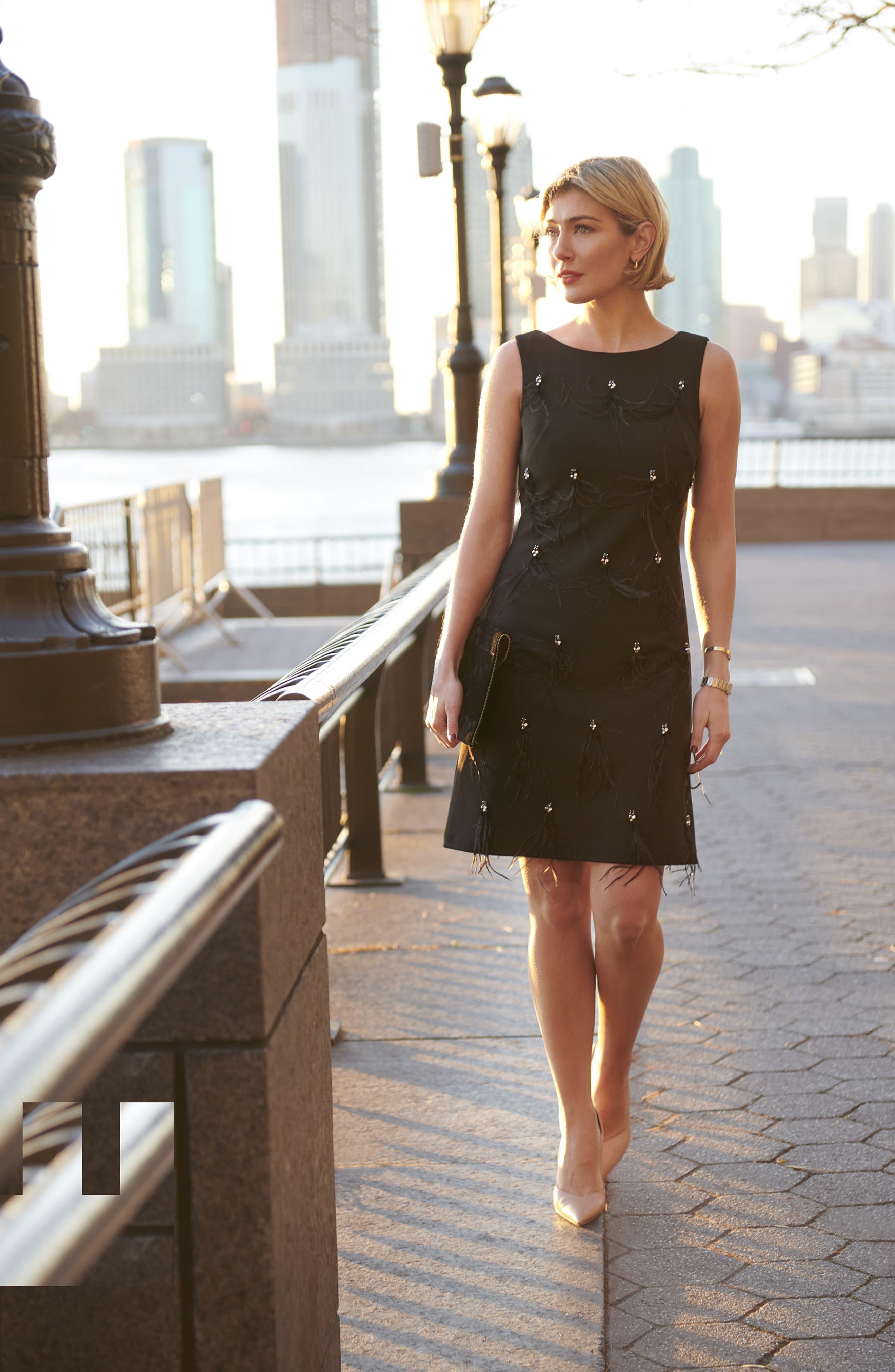 HARPER ROSE,                             Embellished Sheath Dress,                             Alternate thumbnail 8, color,                             BLACK