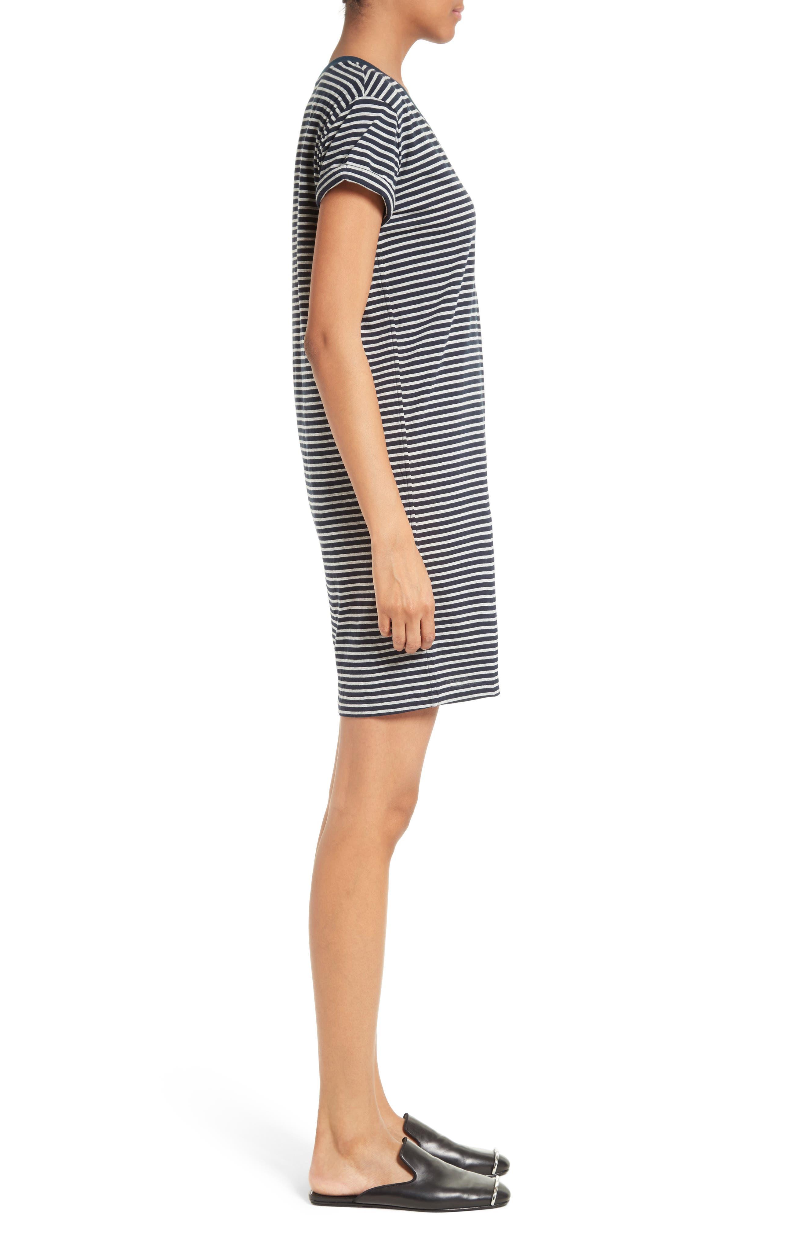T by Alexander Wang Stripe T-Shirt Dress,                             Alternate thumbnail 3, color,                             400