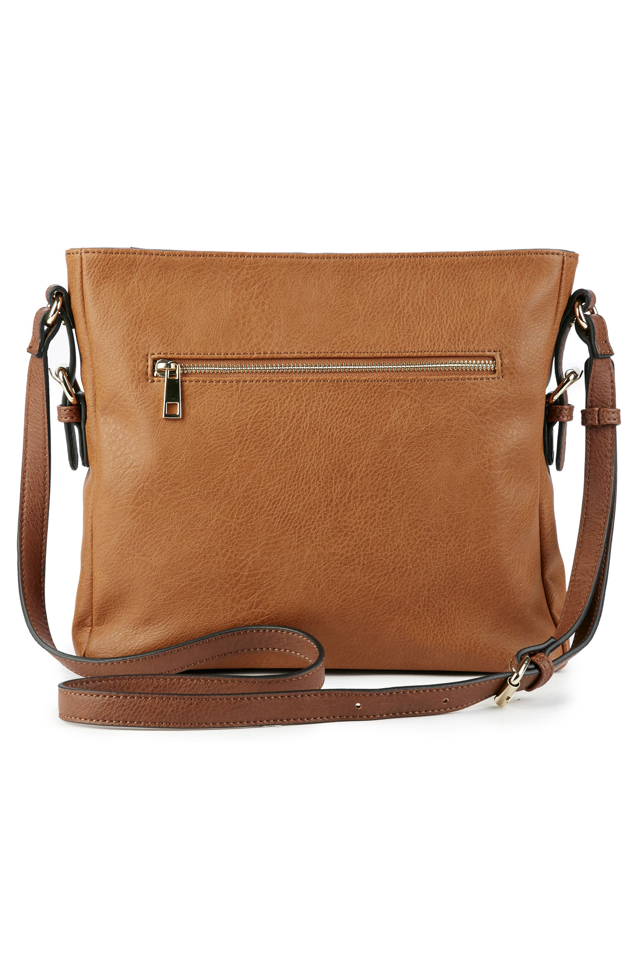Essential Flat Faux Leather Crossbody Bag,                             Alternate thumbnail 6, color,