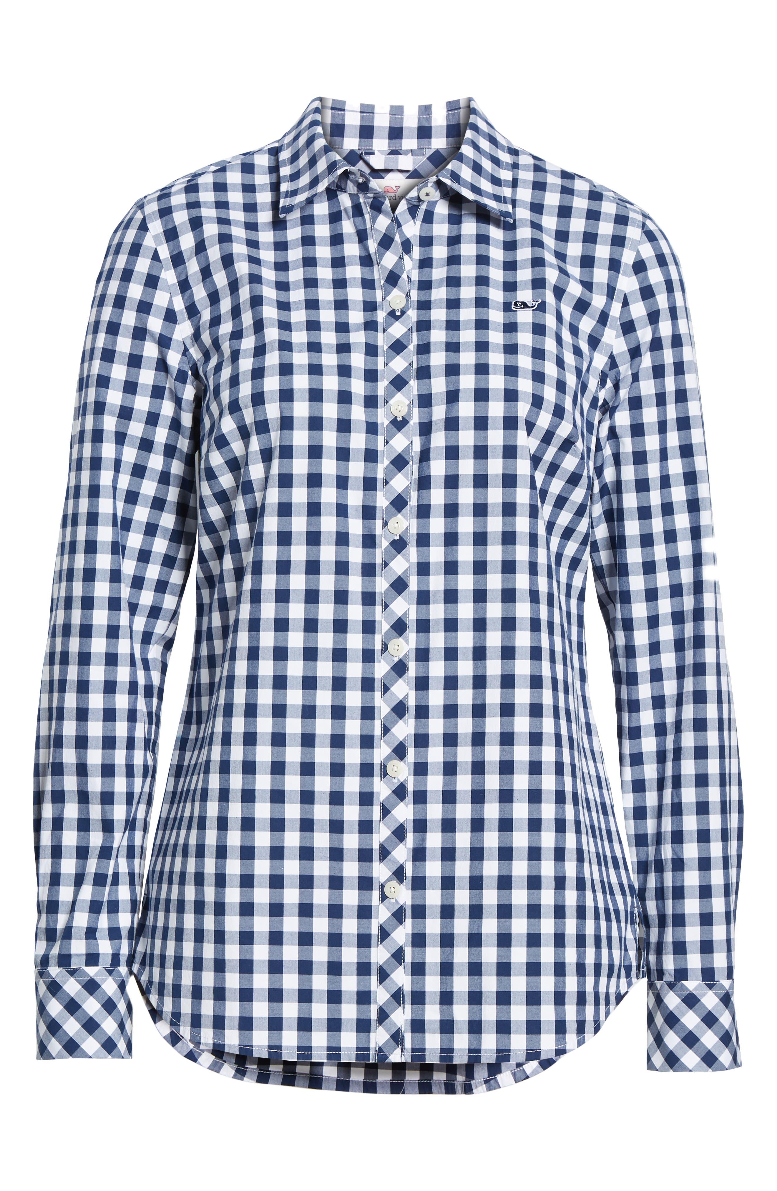 Mini Gingham Classic Button Down Shirt,                             Alternate thumbnail 6, color,                             476