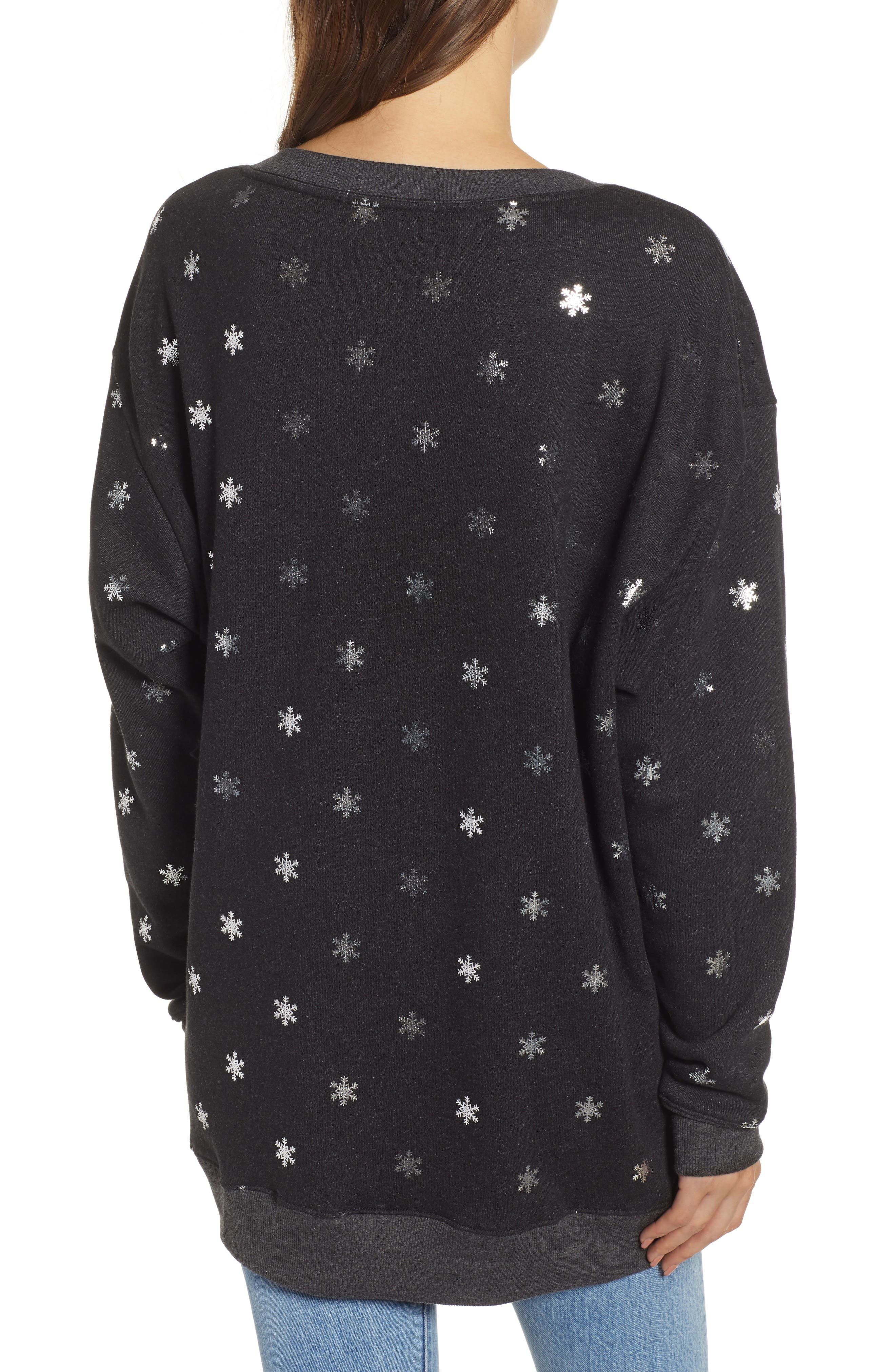WILDFOX,                             Shimmery Snowflakes Road Trip Pullover,                             Alternate thumbnail 2, color,                             002