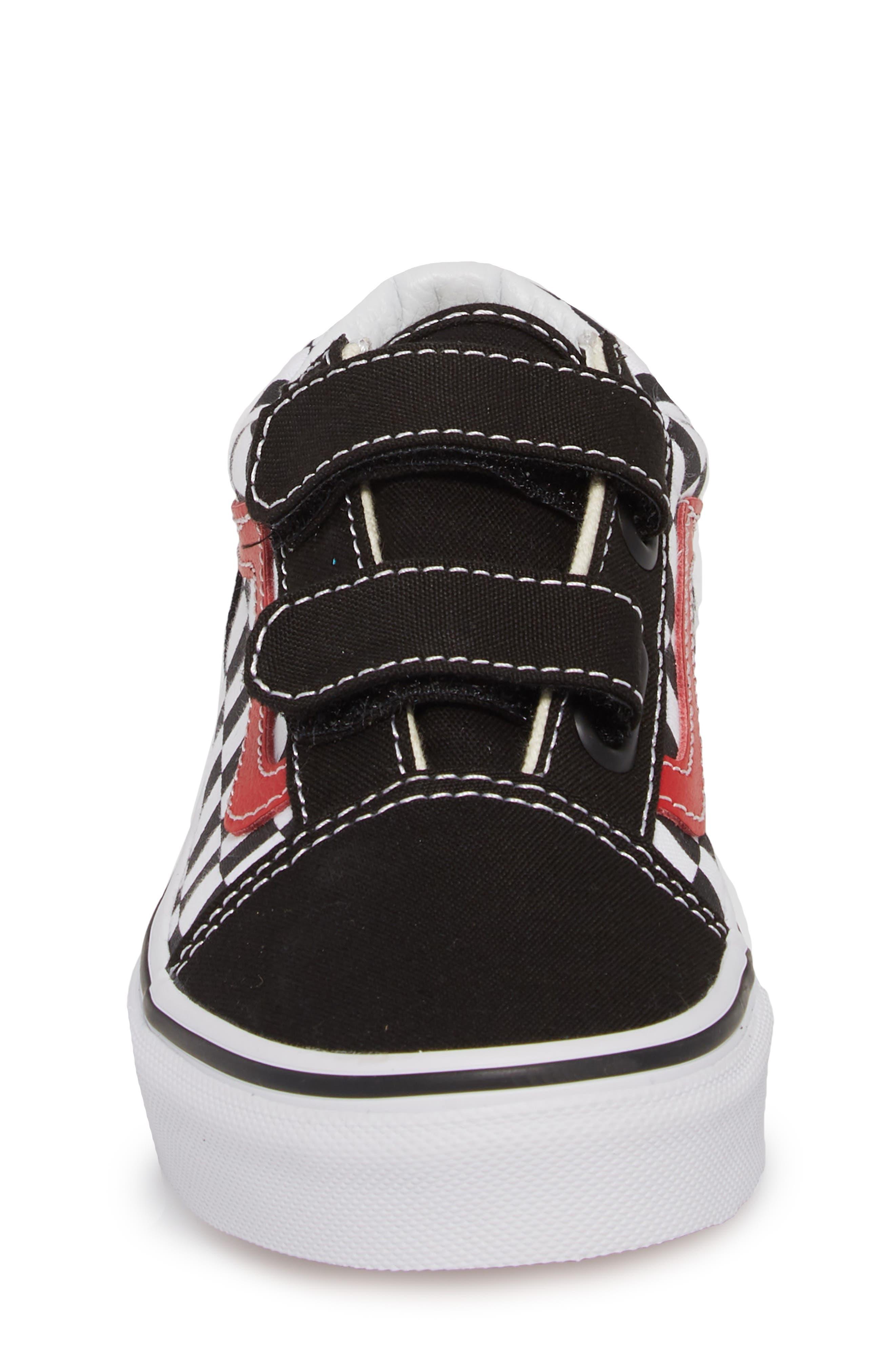 Old Skool V Sneaker,                             Alternate thumbnail 4, color,                             CHECKERBOARD BLACK/ RED/ WHITE