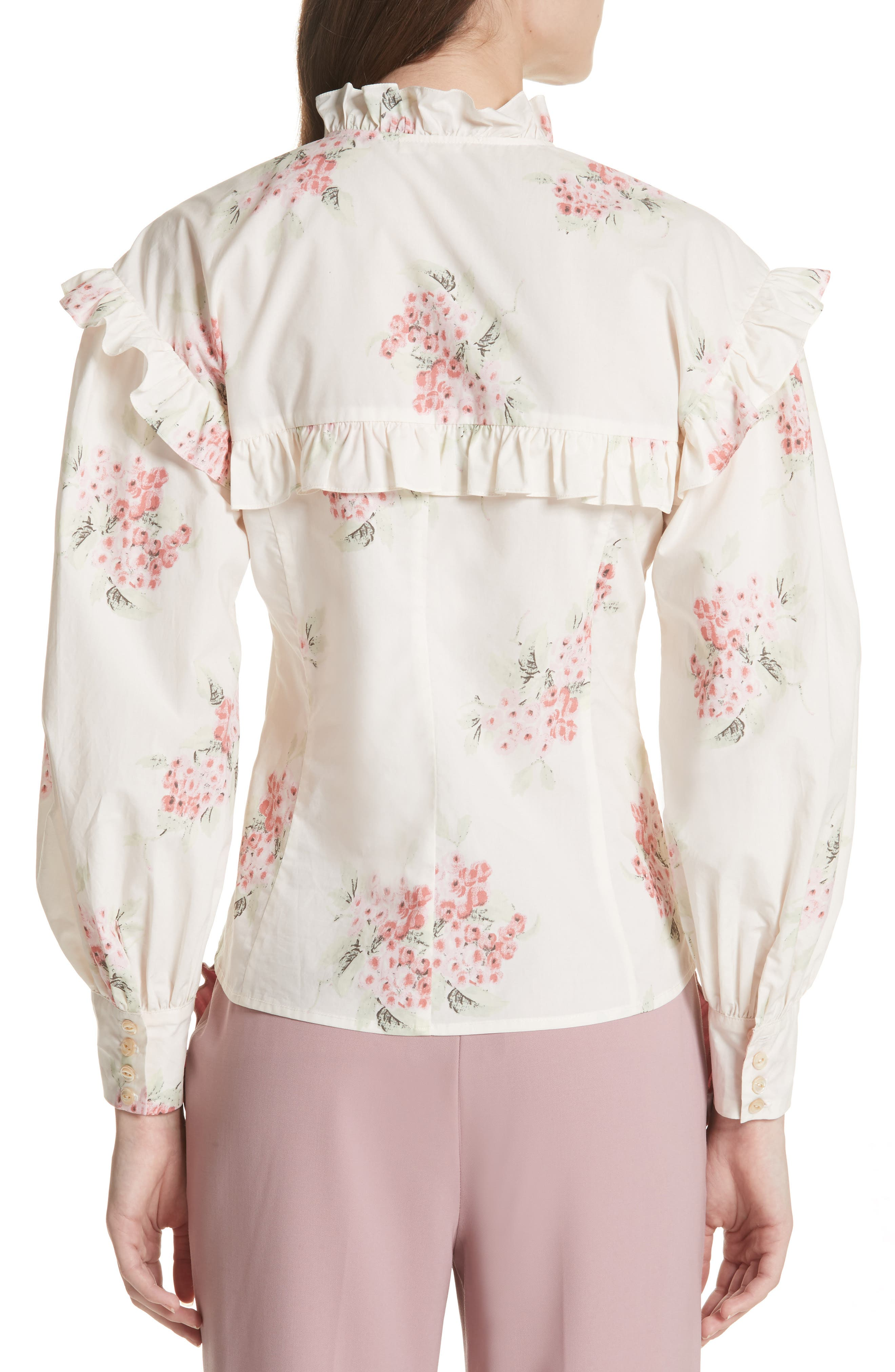 Maia Ruffled Floral Top,                             Alternate thumbnail 2, color,                             901