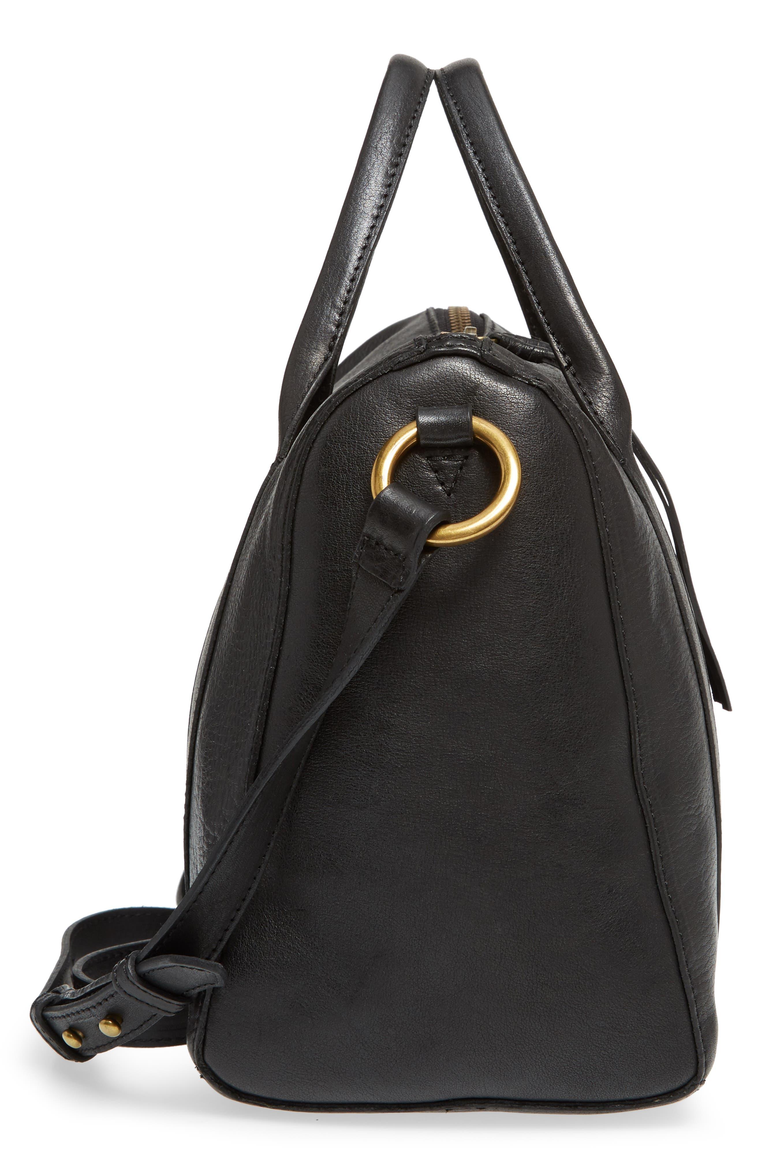O-Ring Leather Satchel,                             Alternate thumbnail 5, color,                             TRUE BLACK
