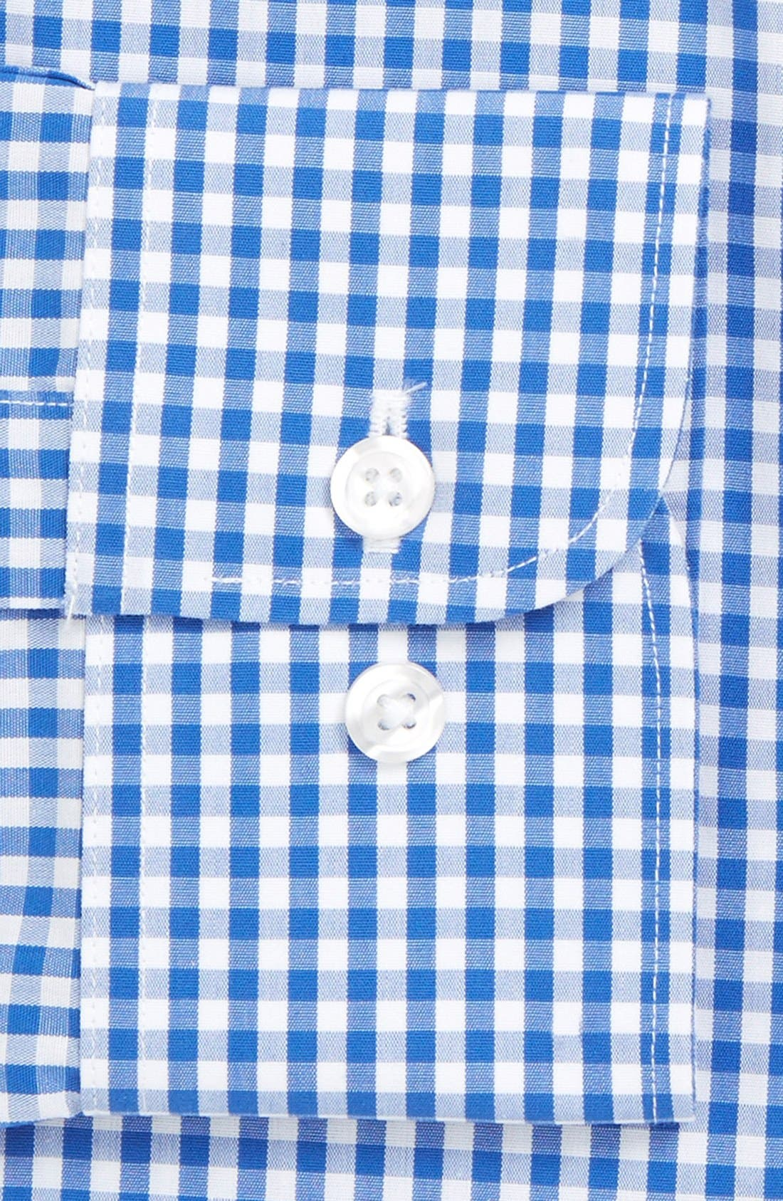 Slim Fit Wrinkle Free Check Dress Shirt,                             Alternate thumbnail 3, color,                             BAY BLUE
