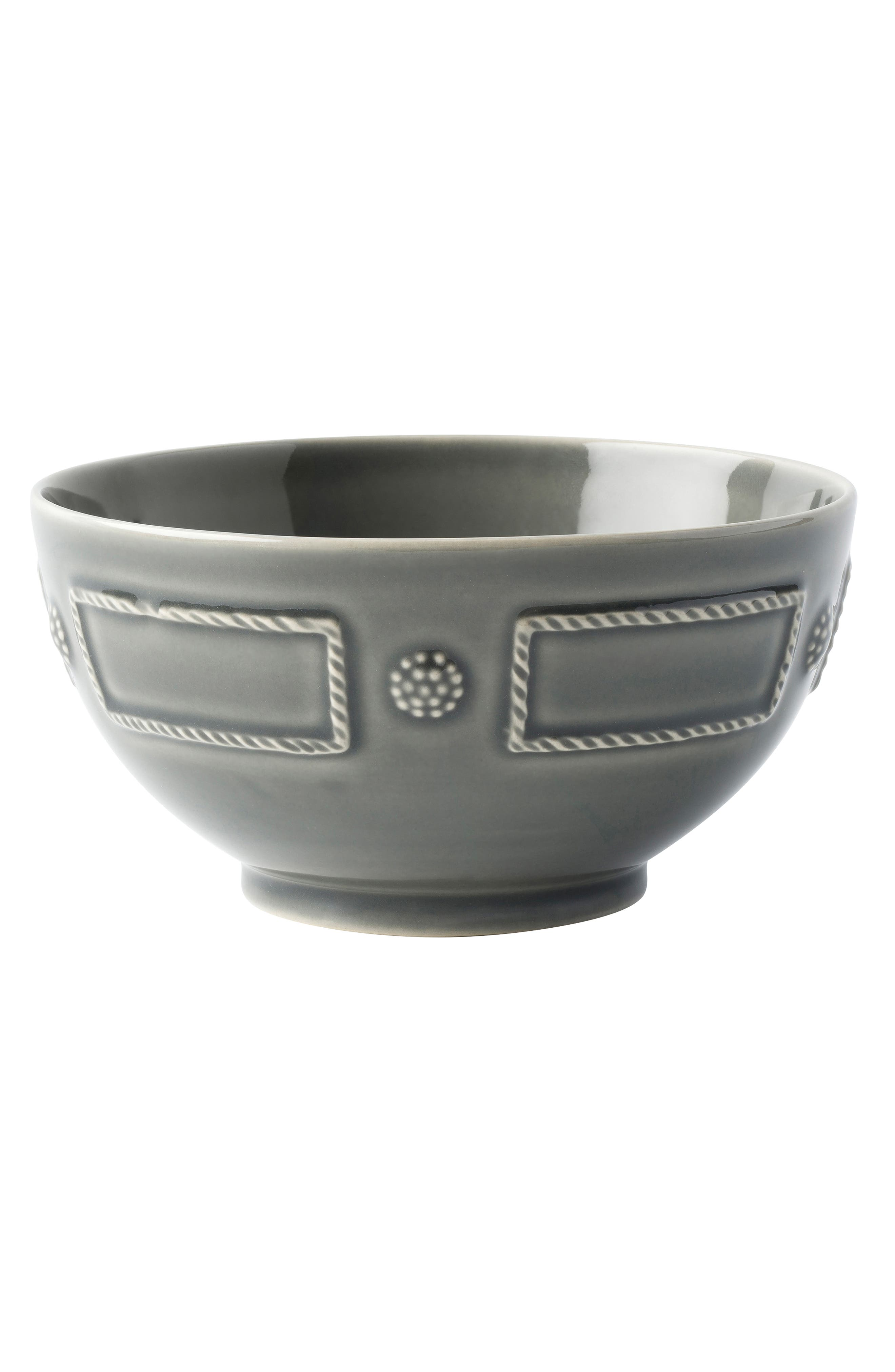 Berry & Thread French Panel Ceramic Cereal Bowl,                         Main,                         color, STONE GREY