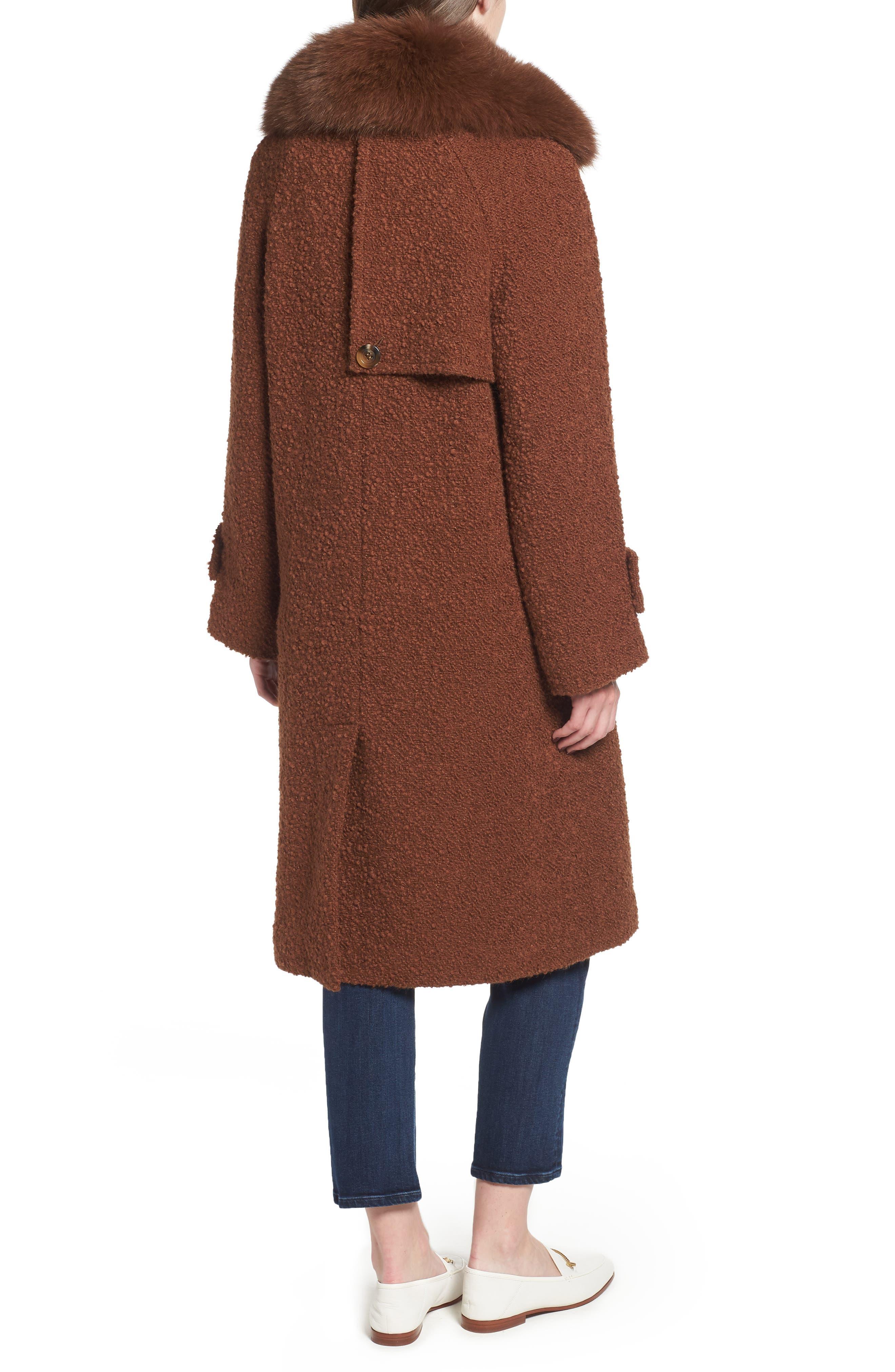 London Genuine Fox Fur Trim Long Coat,                             Alternate thumbnail 2, color,                             MOCHA