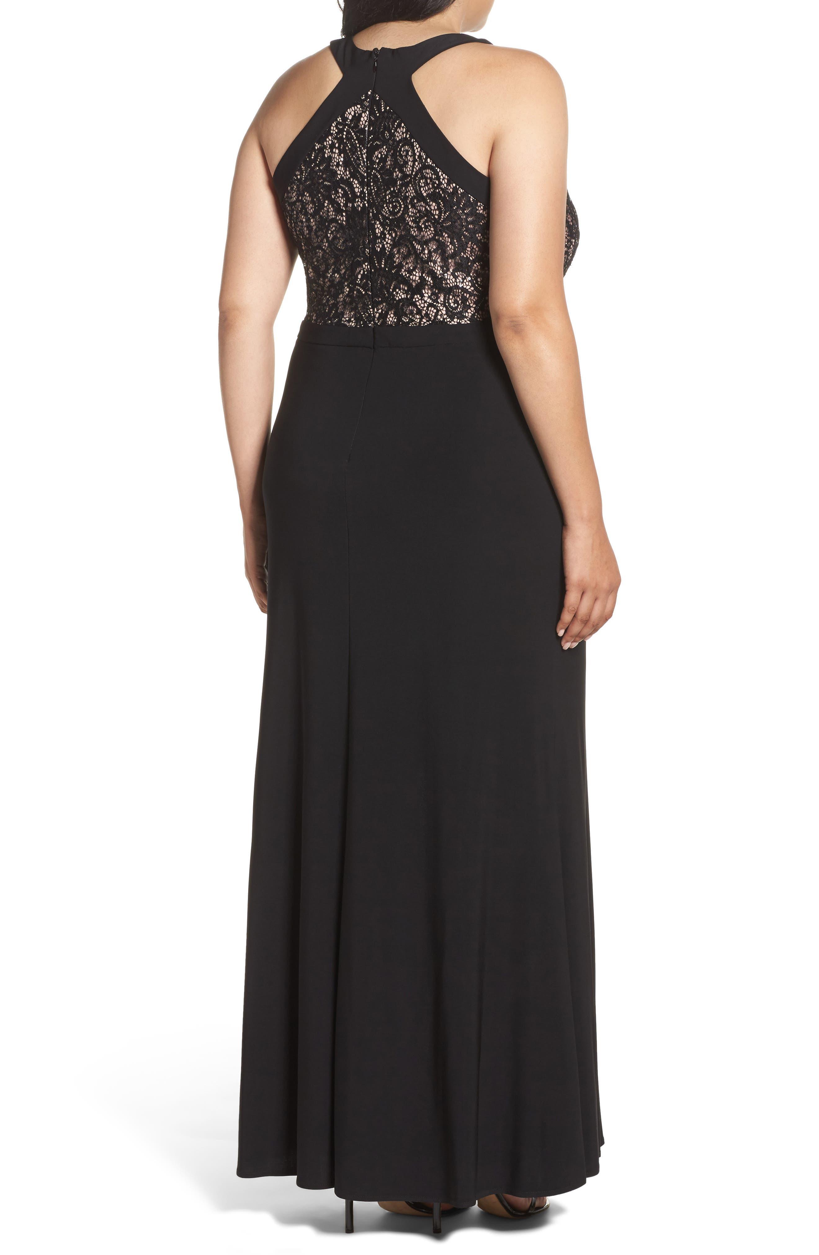 MORGAN & CO.,                             Lace Bodice Dress,                             Alternate thumbnail 2, color,                             BLACK/ NUDE