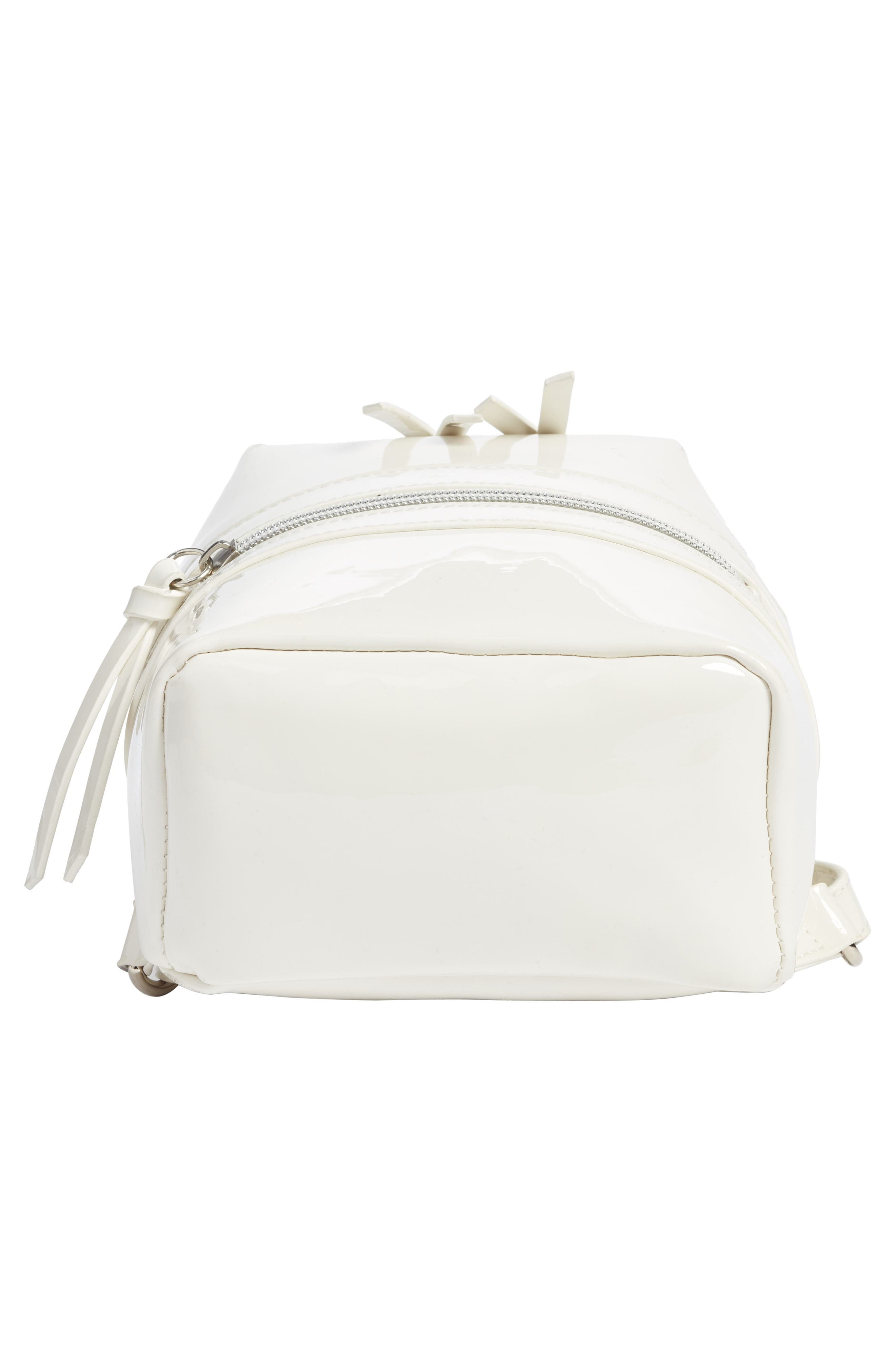 Faux Patent Leather Mini Backpack,                             Alternate thumbnail 6, color,                             100