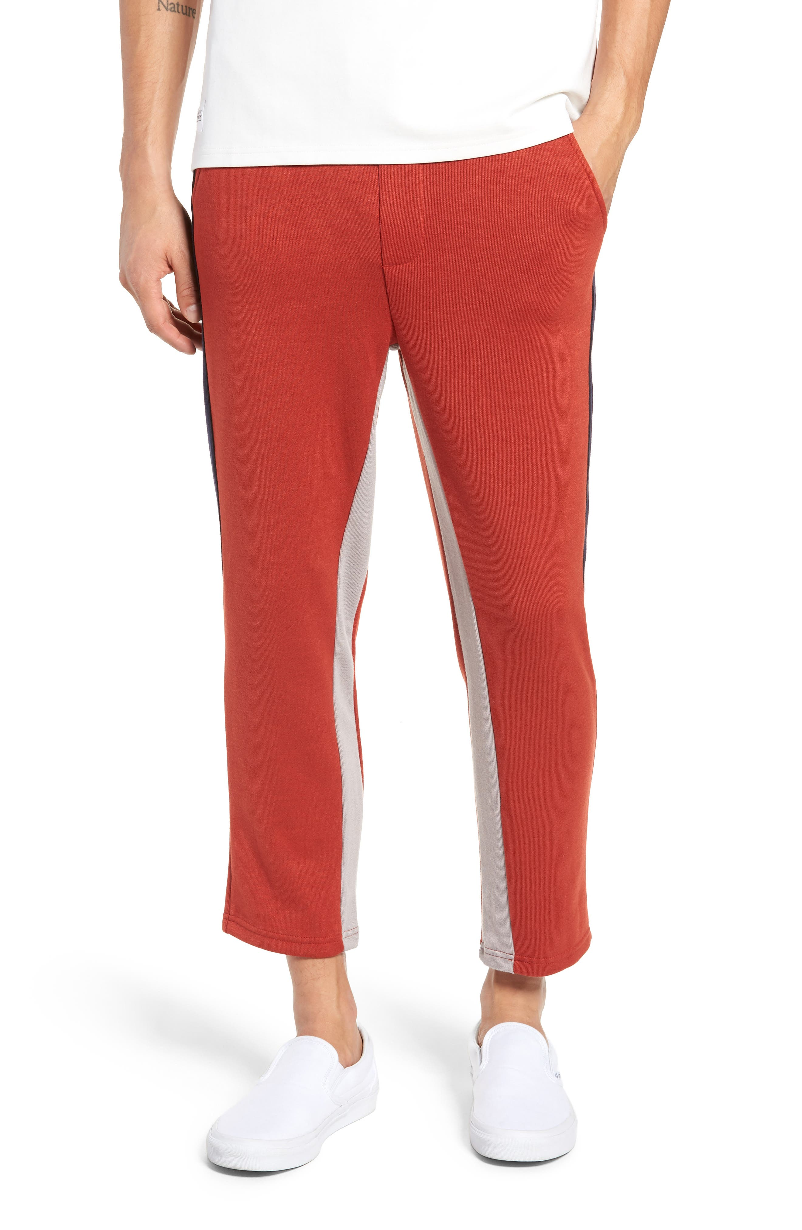 NATIVE YOUTH Slim Fit Colorblock Stripe Jogger Pants in Rust