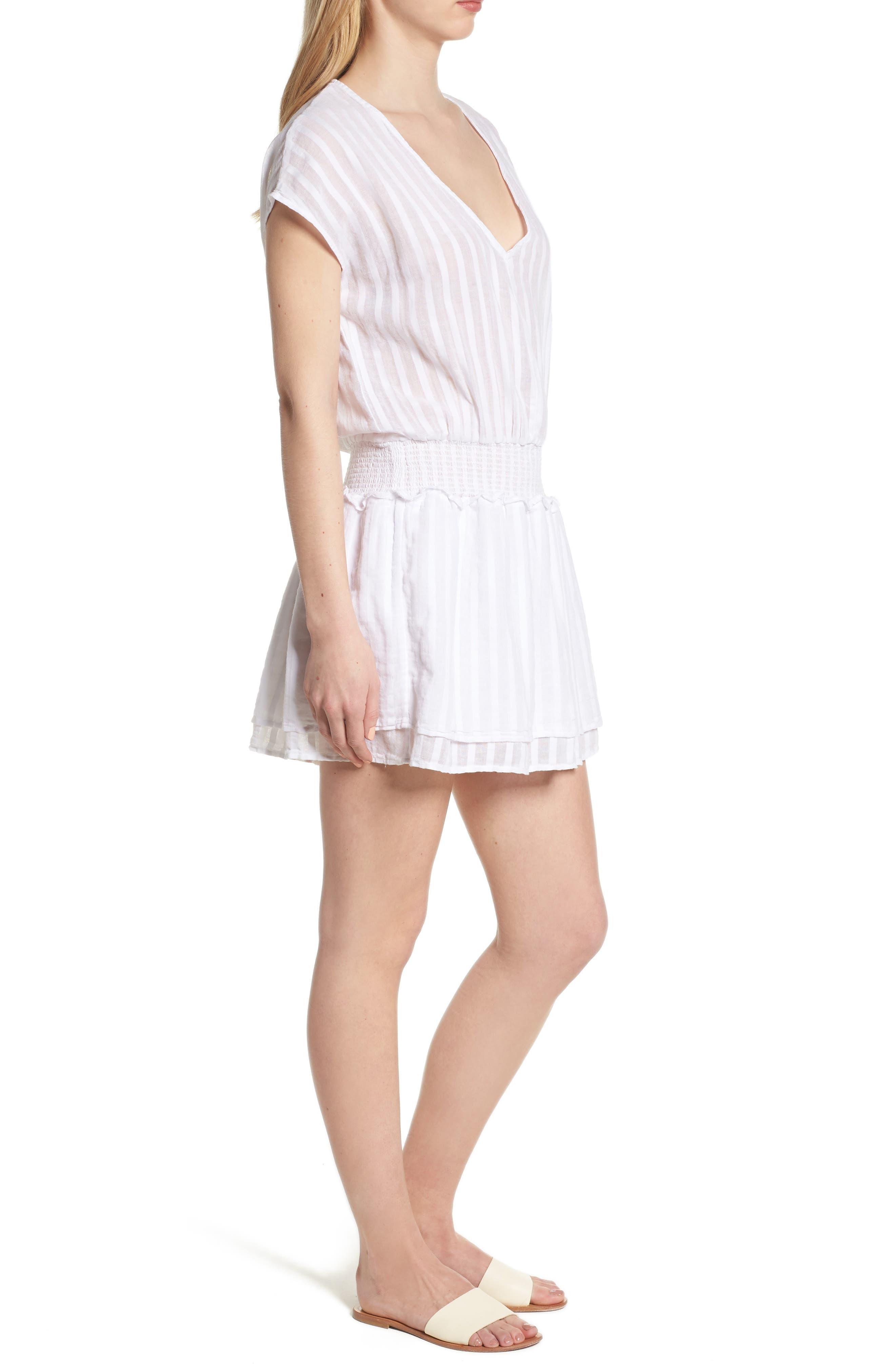 Lucca Blouson Cotton Dress,                             Alternate thumbnail 3, color,                             WHITE SHADOW STRIPE