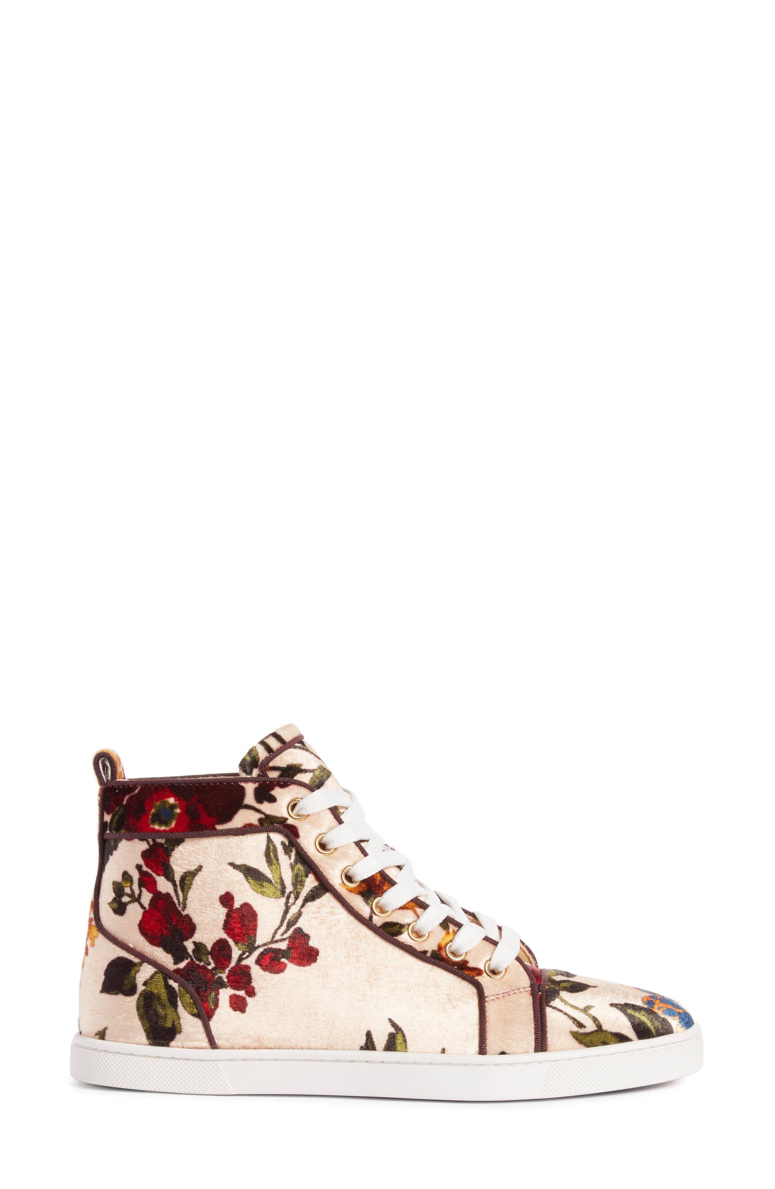 CHRISTIAN LOUBOUTIN,                             Bip Bip Floral Sneaker,                             Alternate thumbnail 3, color,                             250