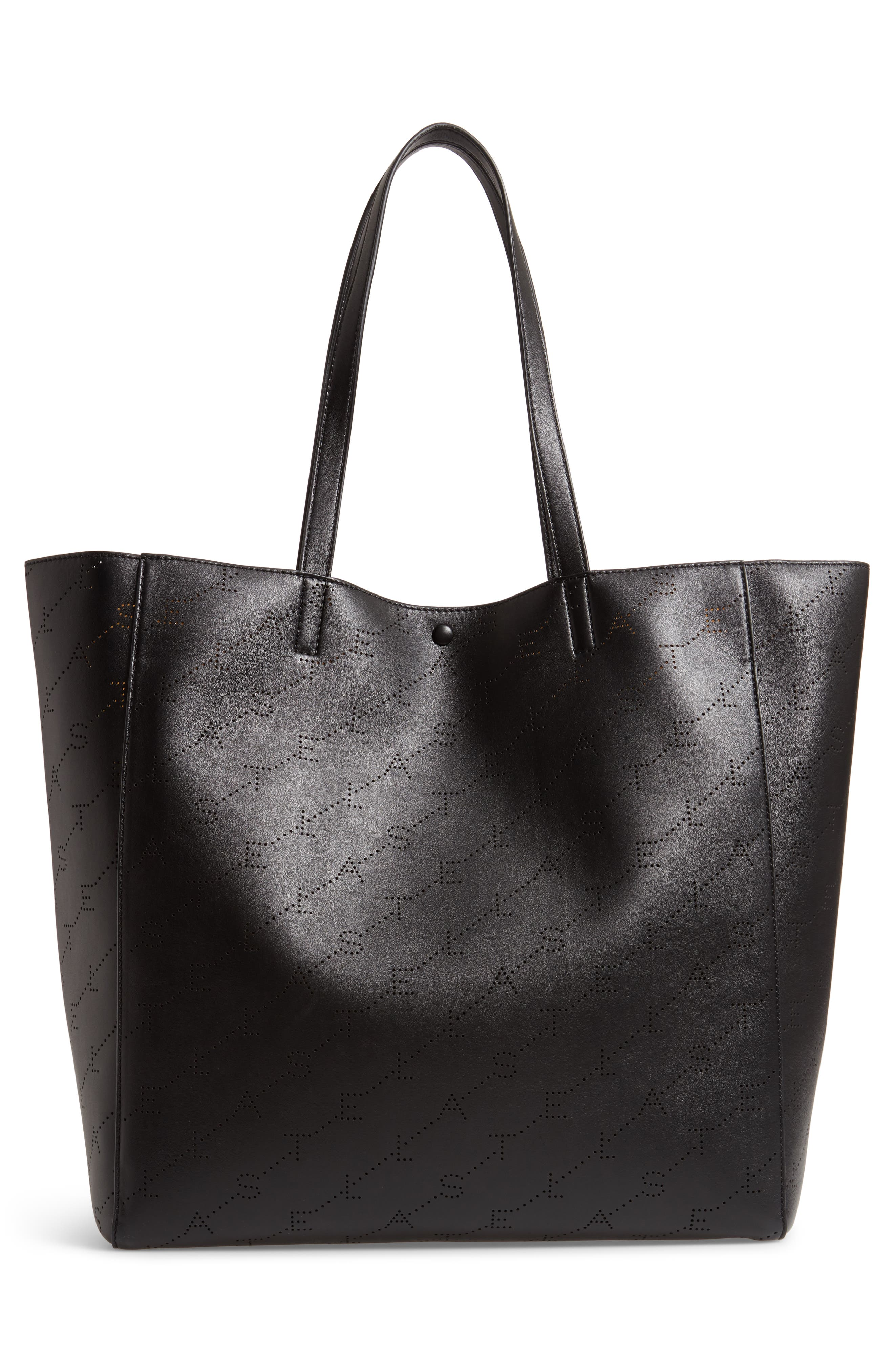 Medium Perforated Logo Faux Leather Tote,                             Alternate thumbnail 3, color,                             001