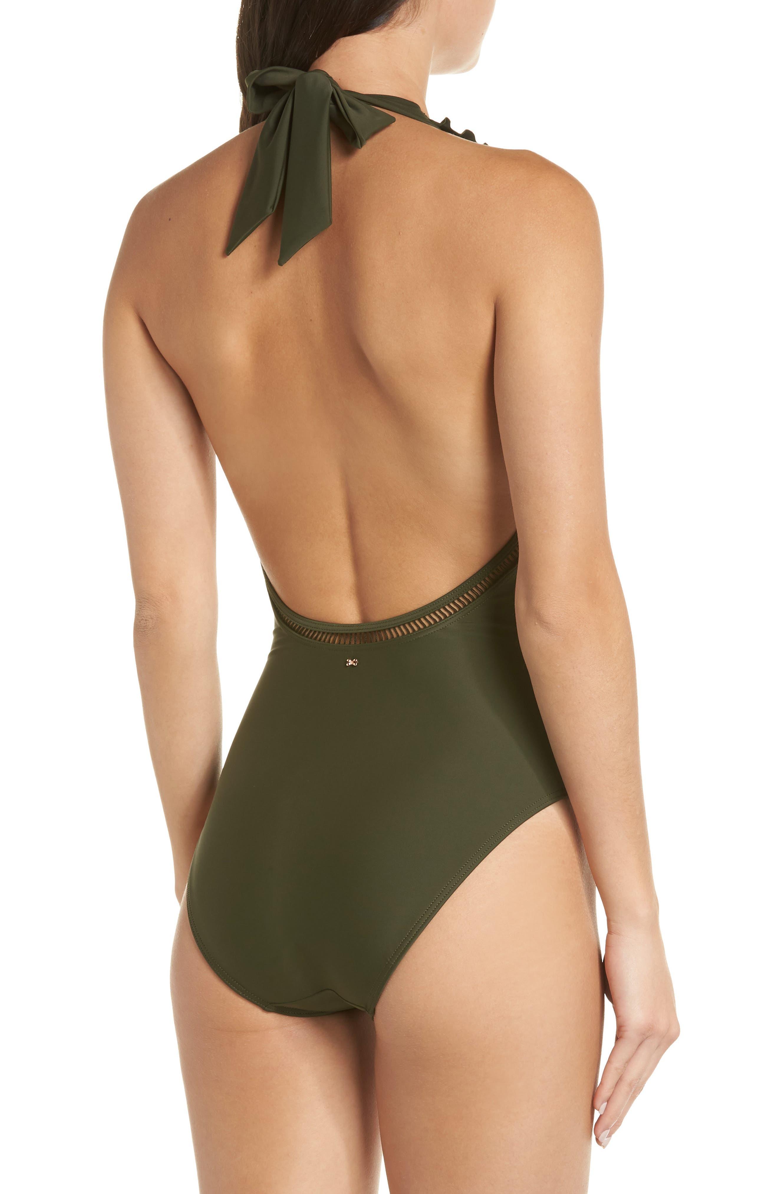 Blanna Deep-V Ruffle One-Piece Swimsuit,                             Alternate thumbnail 2, color,                             DARK GREEN