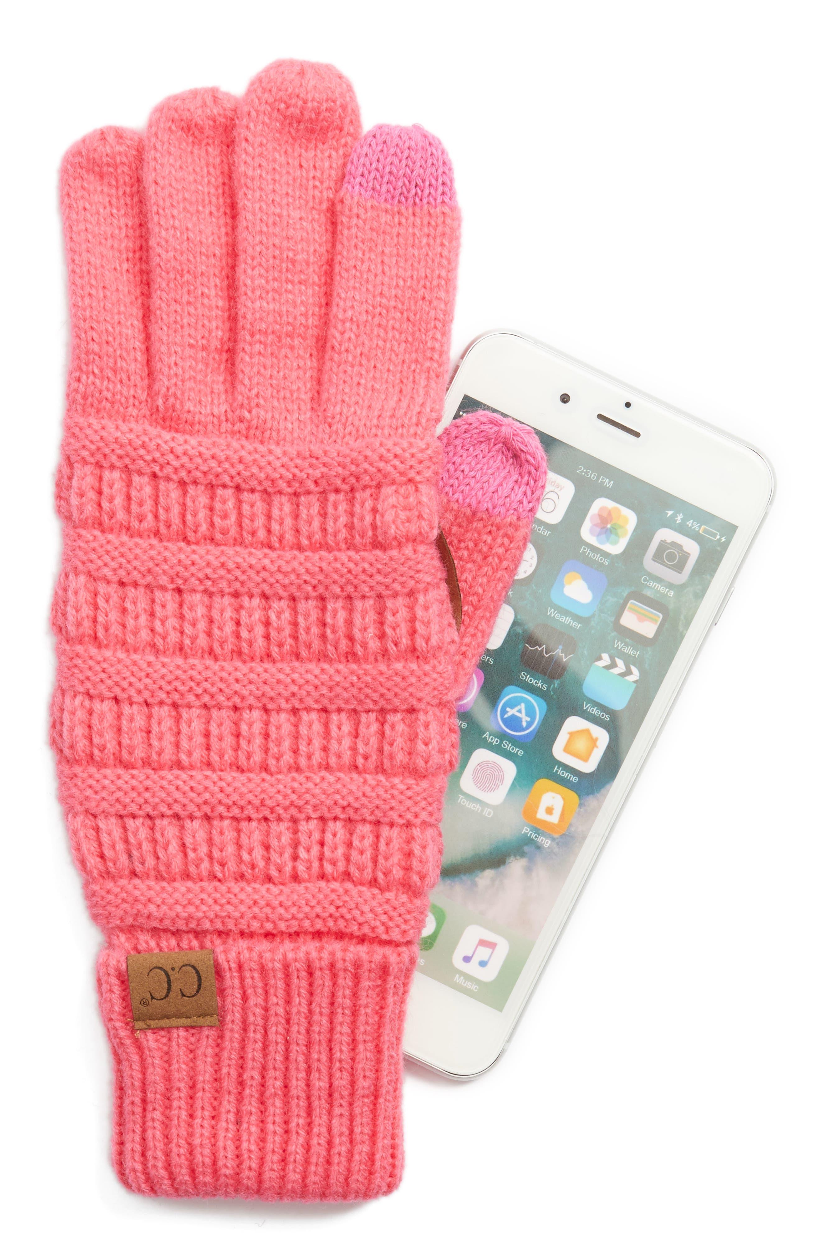 Rib Knit Tech Gloves,                             Alternate thumbnail 16, color,