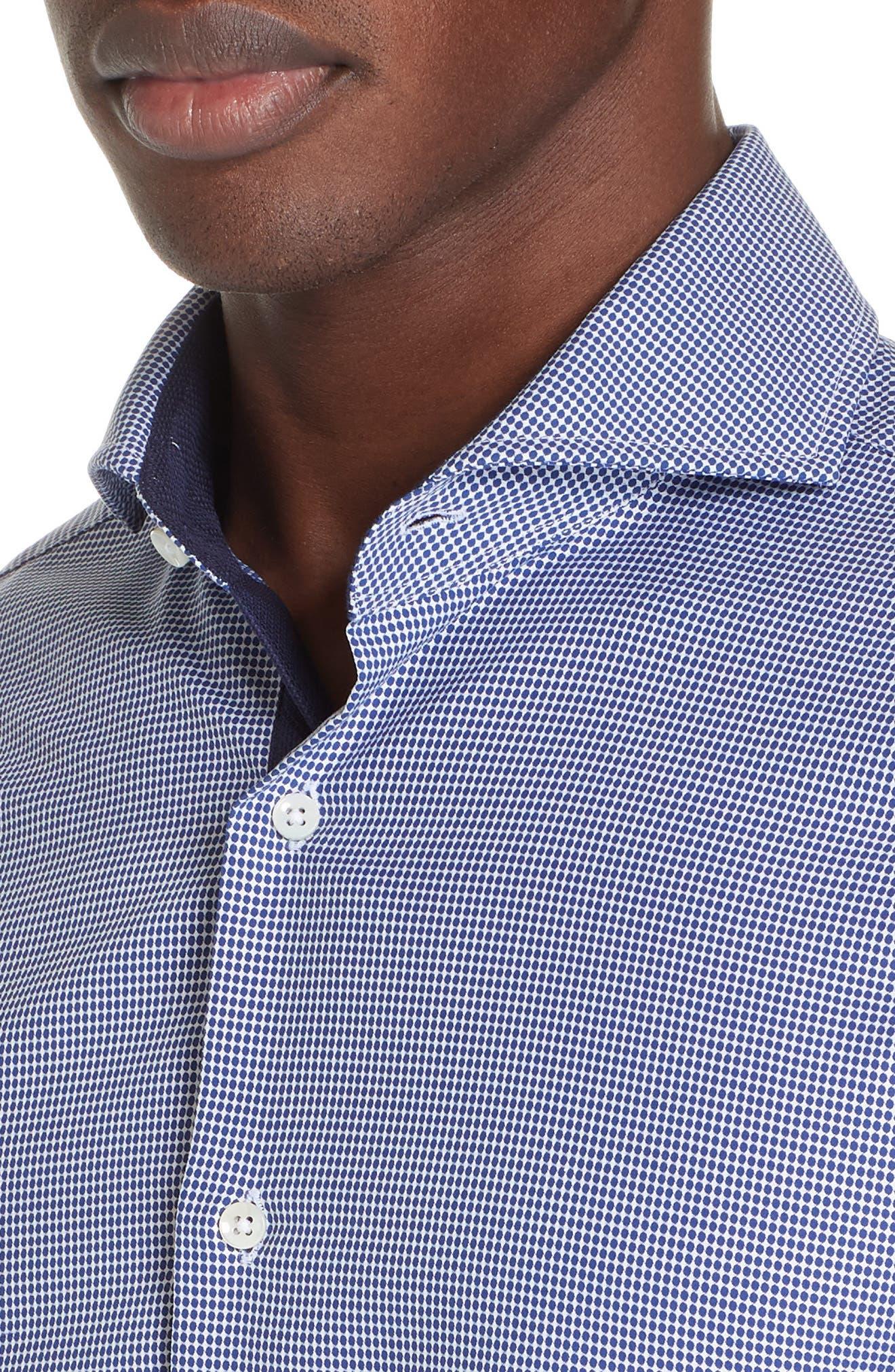 Slim Fit Dot Dress Shirt,                             Alternate thumbnail 2, color,                             NAVY