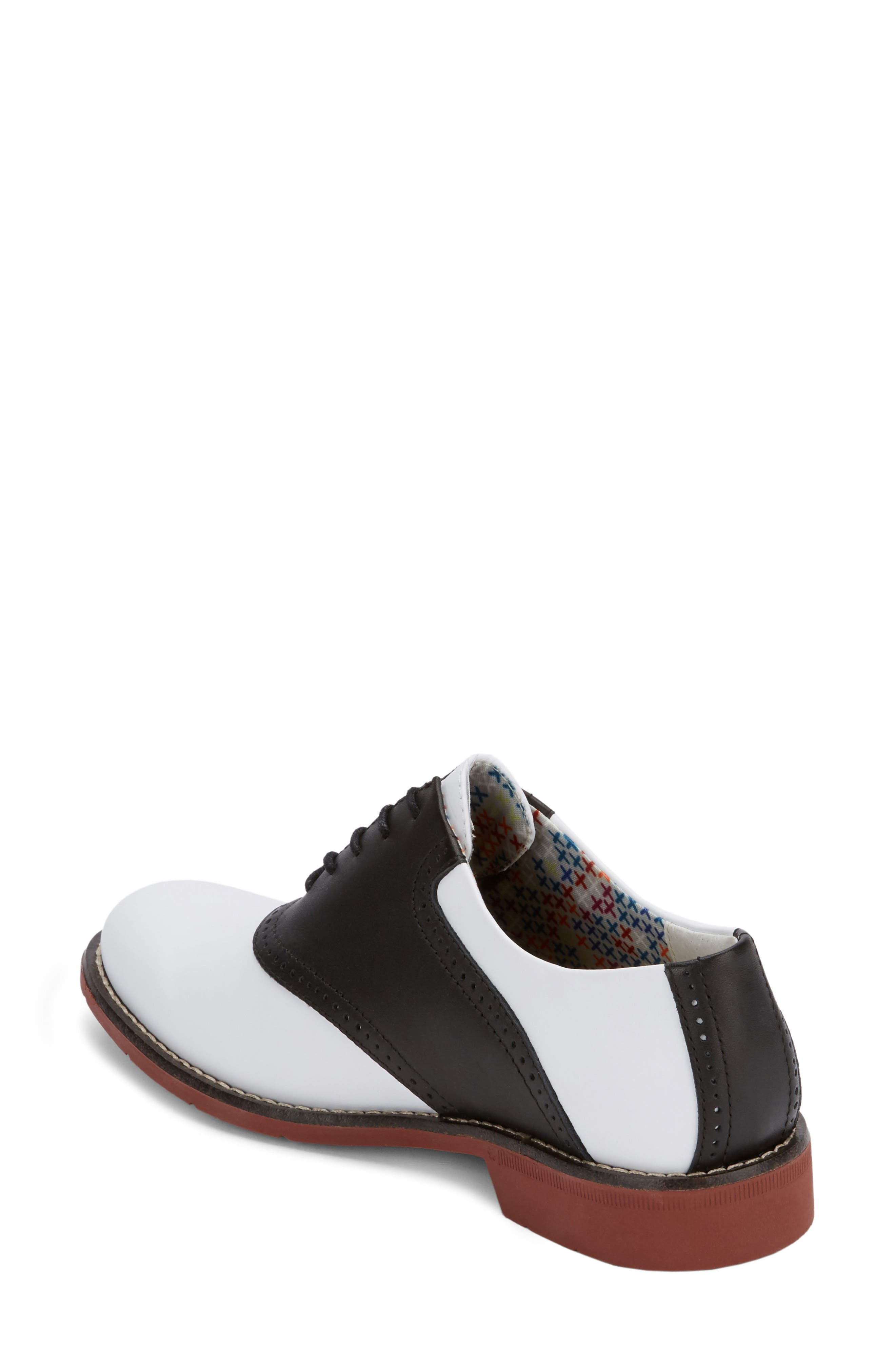 G.H. Bass and Co. Dora Lace-Up Oxford,                             Alternate thumbnail 2, color,                             BLACK/ WHITE LEATHER