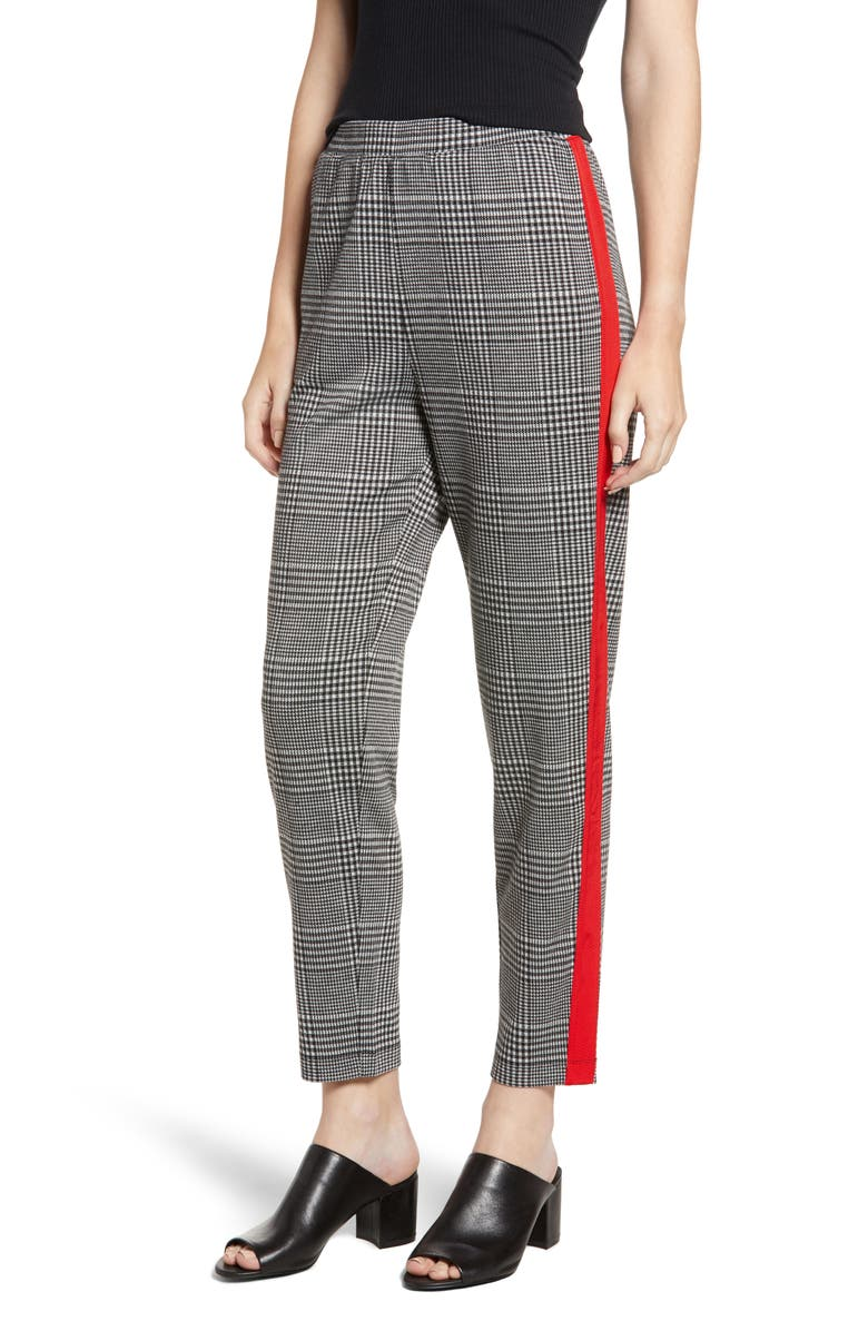Side Stripe Glen Plaid Pants,                         Main,                         color, BLACK GLEN CHECK