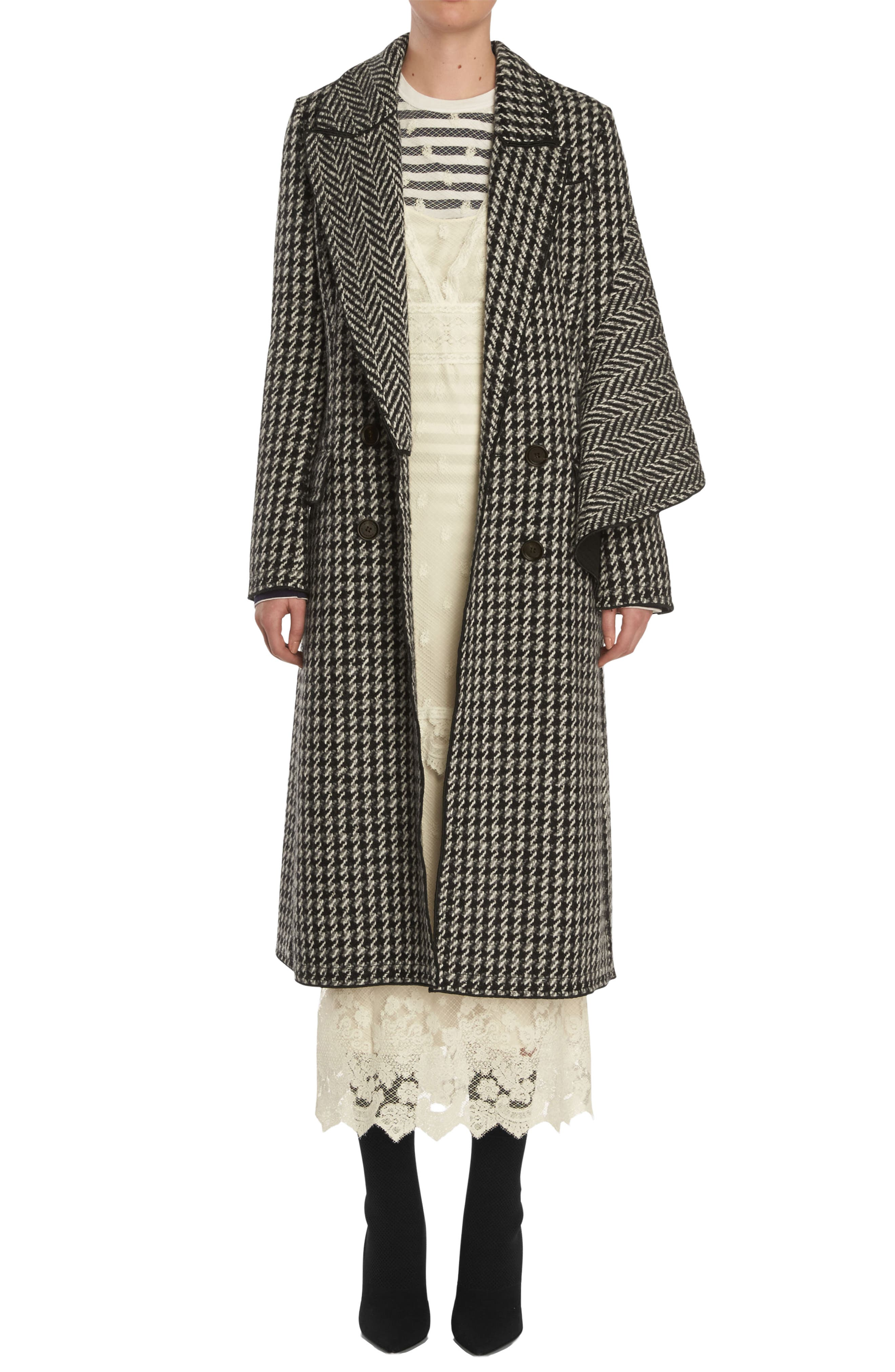 Houndstooth Wool Coat,                             Main thumbnail 1, color,                             001
