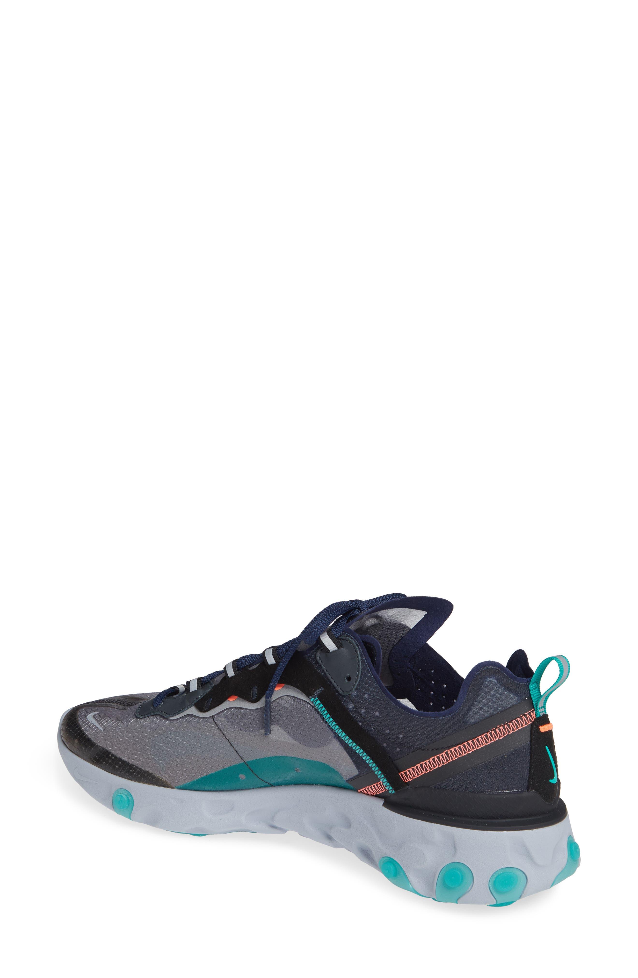 React Element 87 Sneaker,                             Alternate thumbnail 2, color,                             BLACK/ MIDNIGHT NAVY/ GREEN