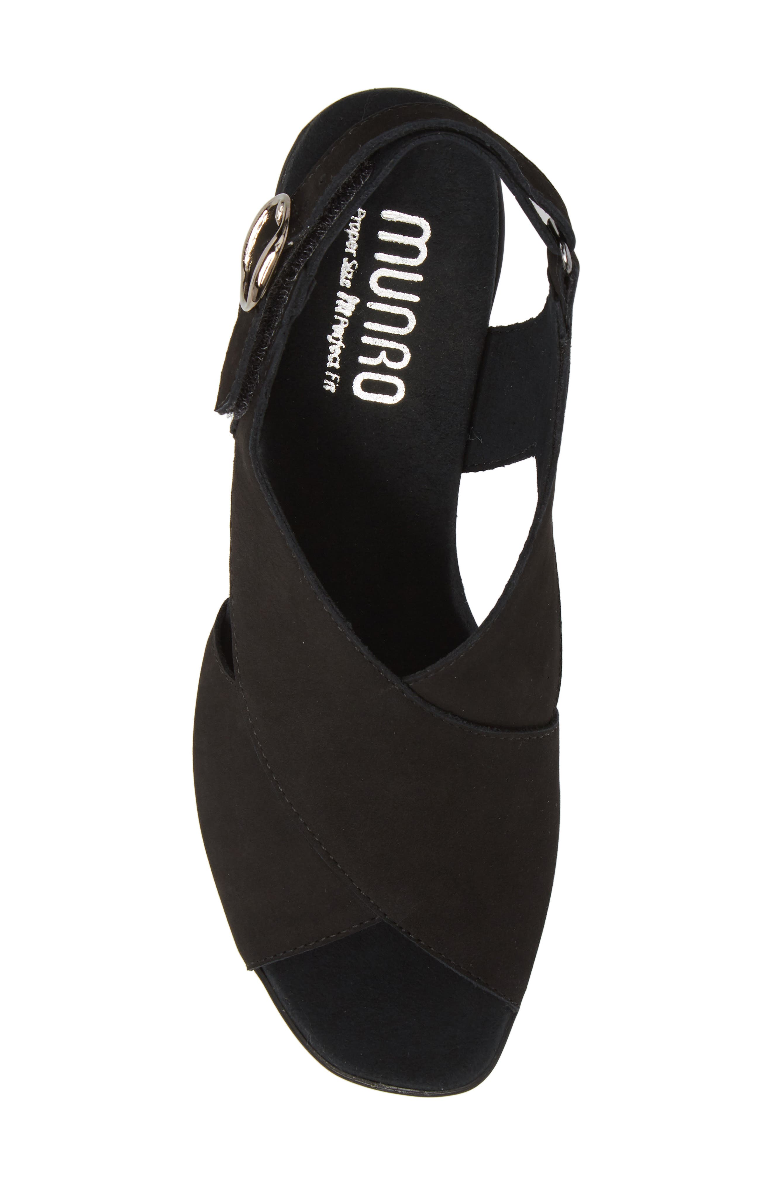Laine Block Heel Sandal,                             Alternate thumbnail 5, color,                             BLACK NUBUCK LEATHER
