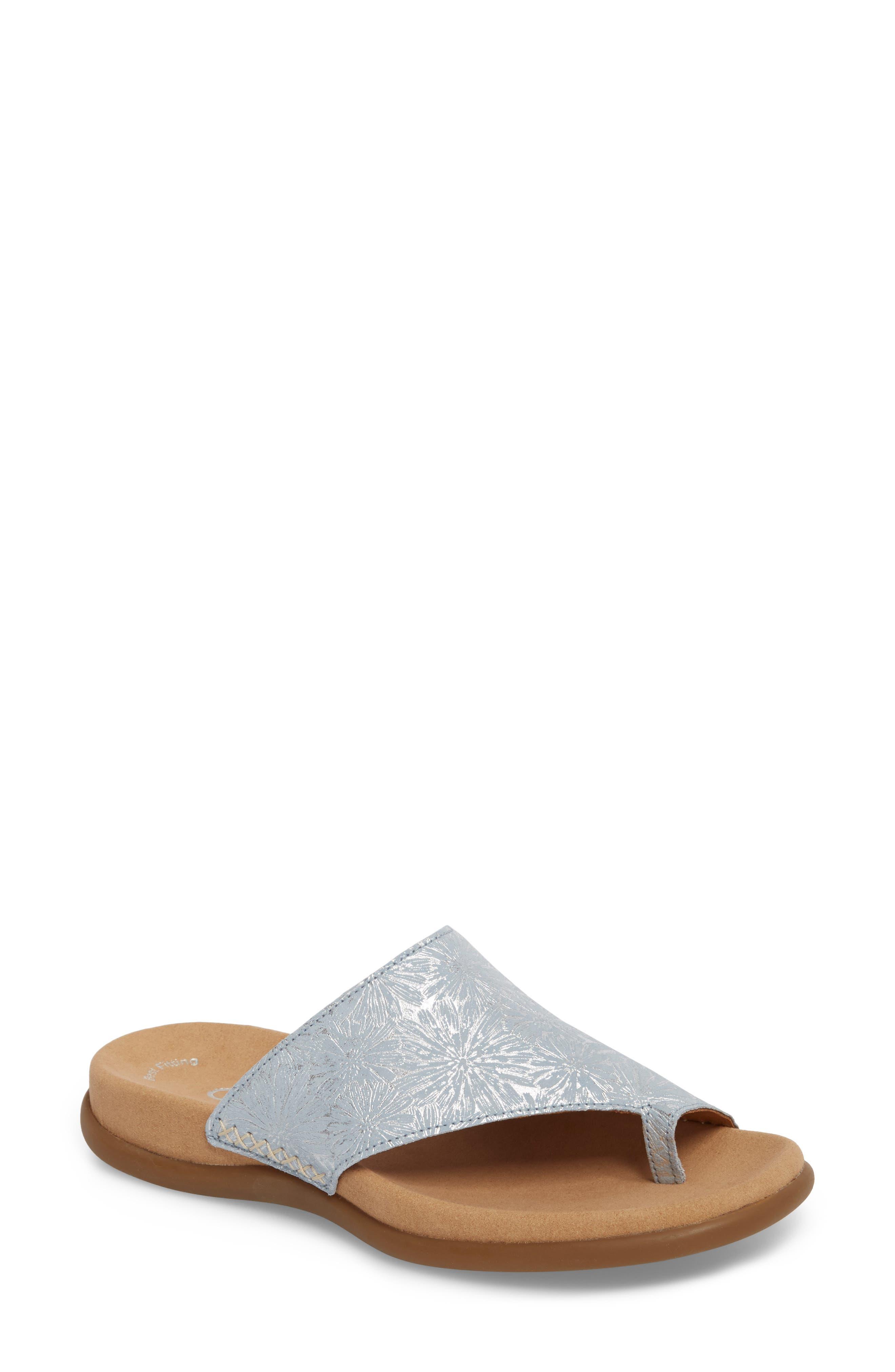Sandal,                             Main thumbnail 1, color,                             BLUE METALLIC LEATHER
